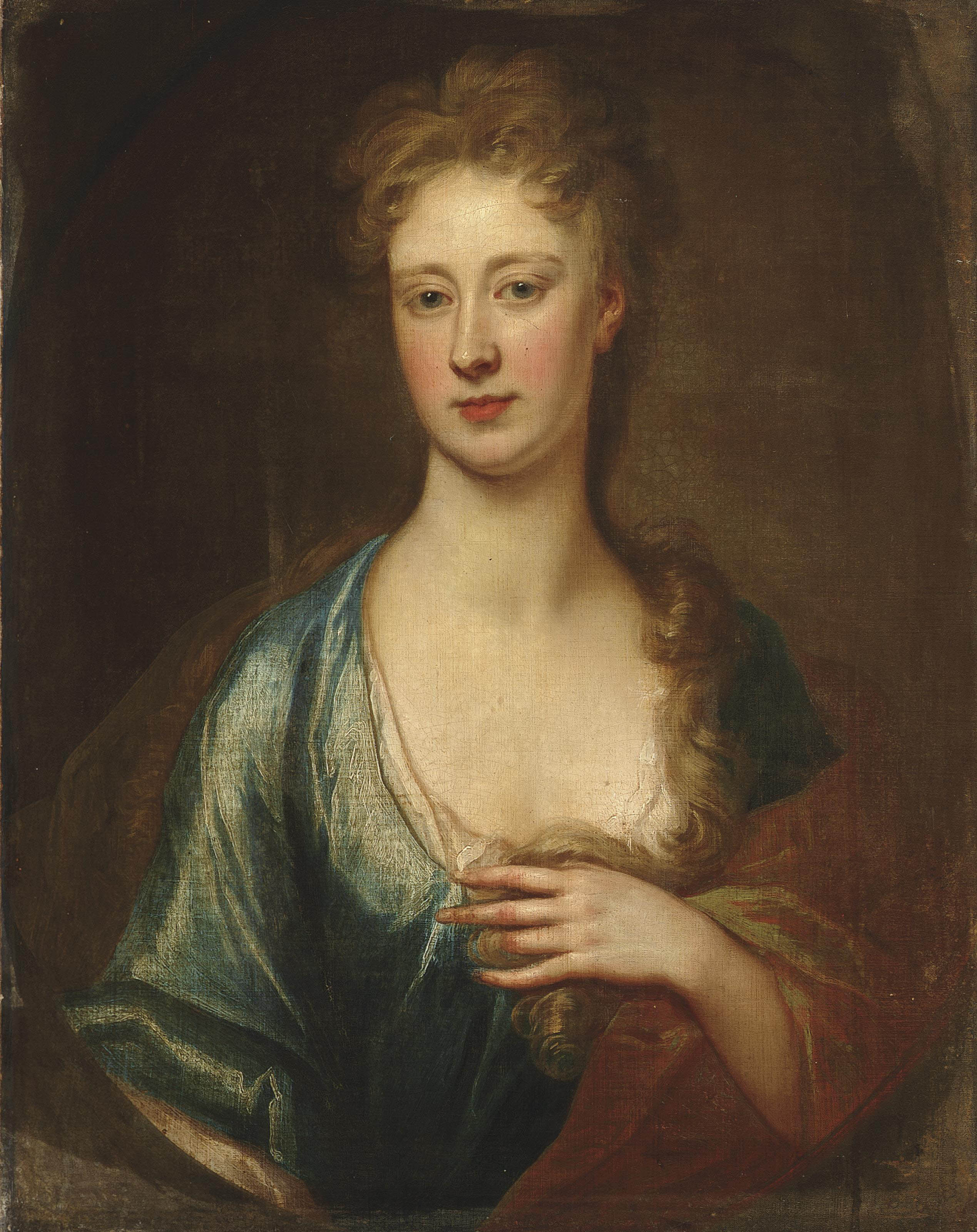 Portrait of a lady, traditionally identified as Catherine Perceval (c.1689-1749), Countess of Egmont, bust-length, in a blue dress and brown wrap, in a feigned oval