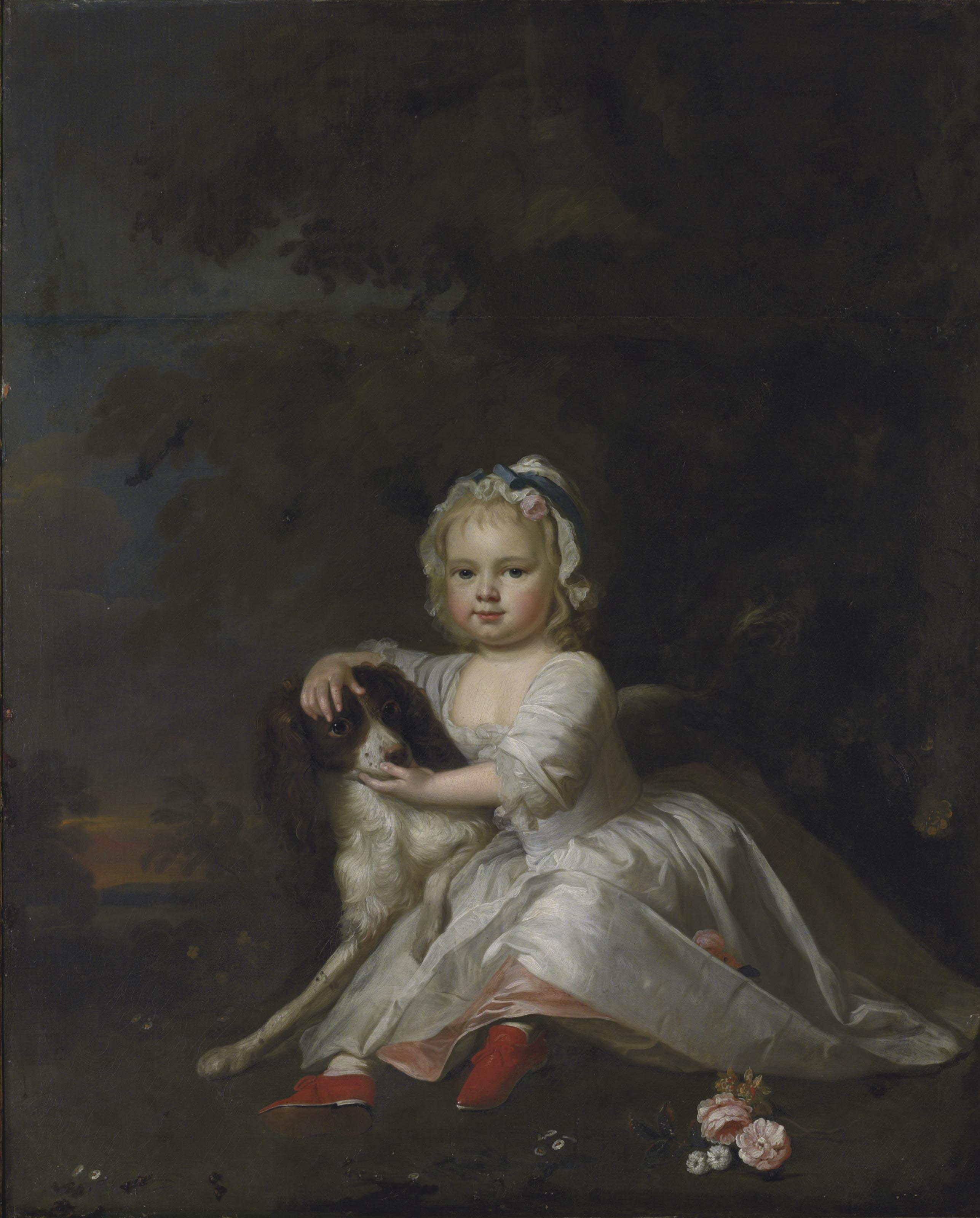 Portrait of a girl, traditionally identified as Catherine Legge (1741-1819), seated full-length, in a white dress and cap, with a spaniel, in a landscape