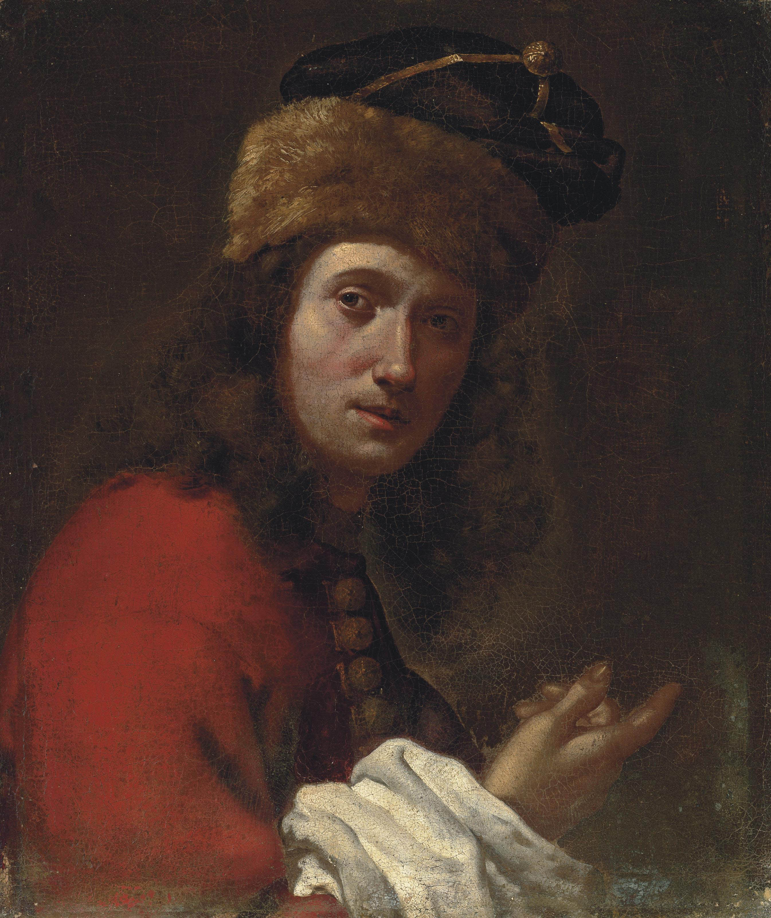 Portrait of a man, bust-length, in a red, fur-trimmed coat and black fur hat