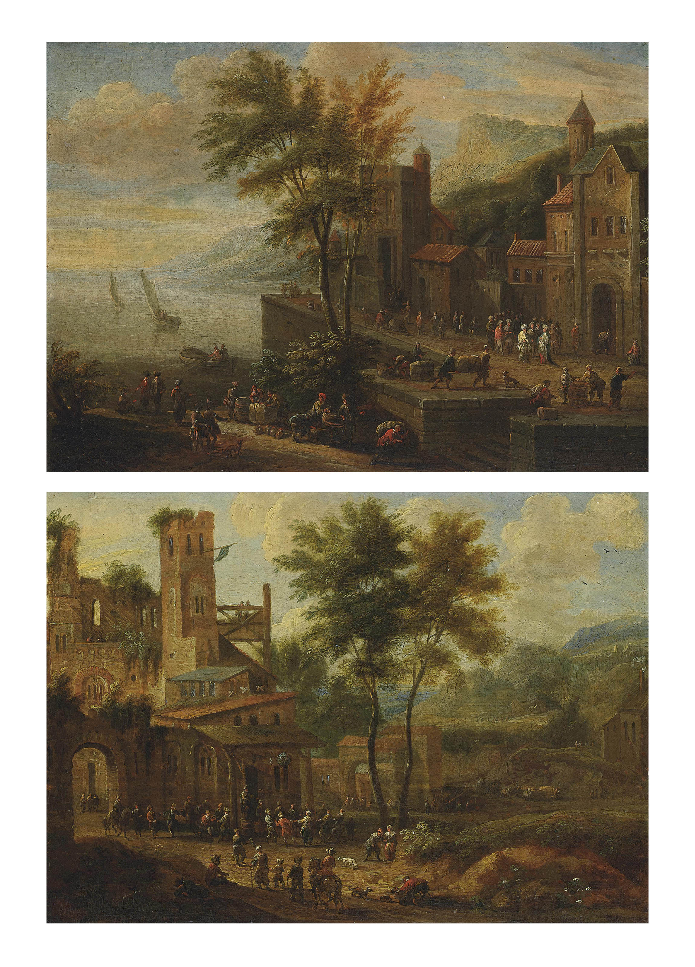 Peasants merrymaking on the outskirts of a village; and A coastal landscape with figures on the promenade