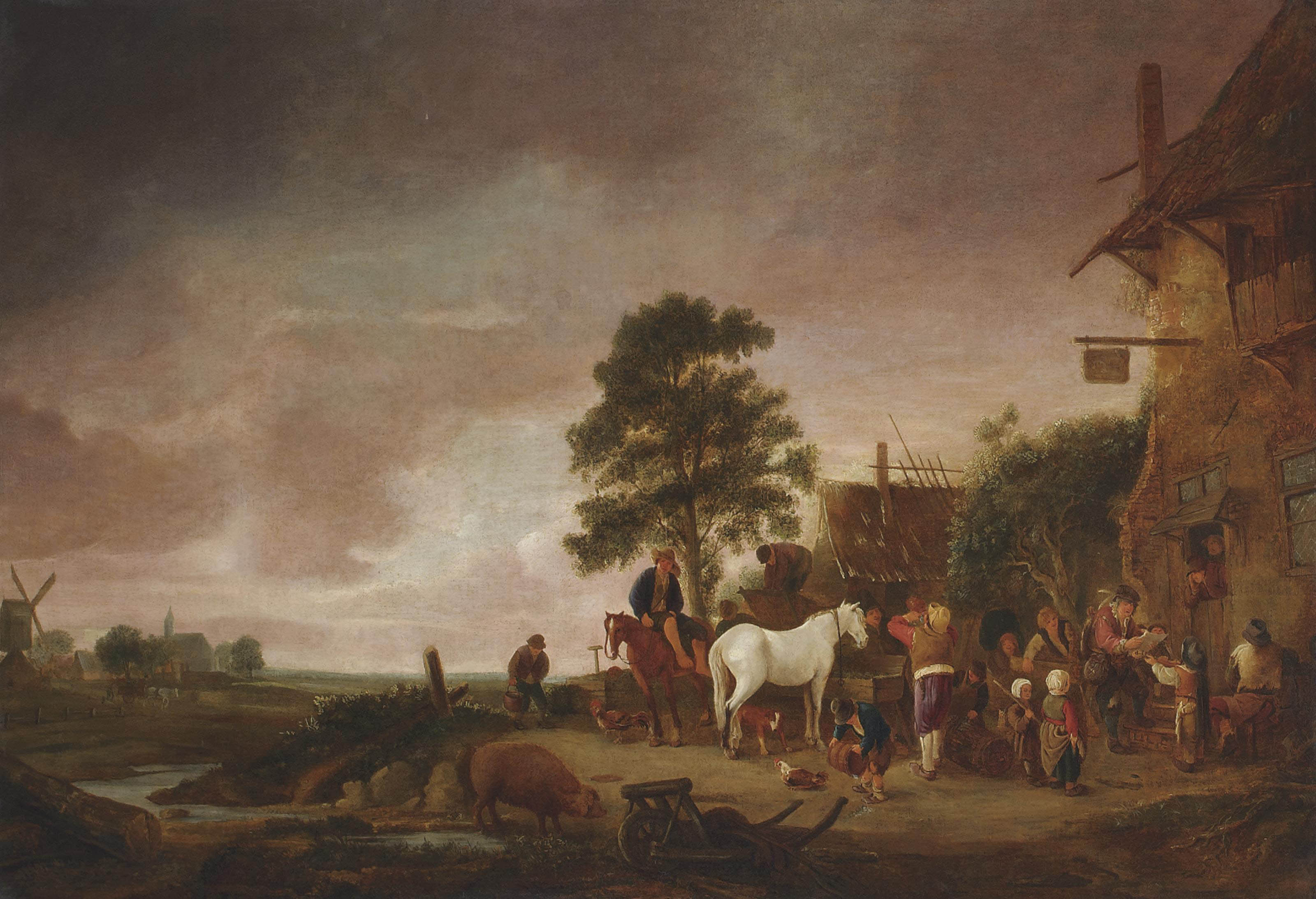 A village scene outside a tavern, with figures conversing, playing music and feeding their horses