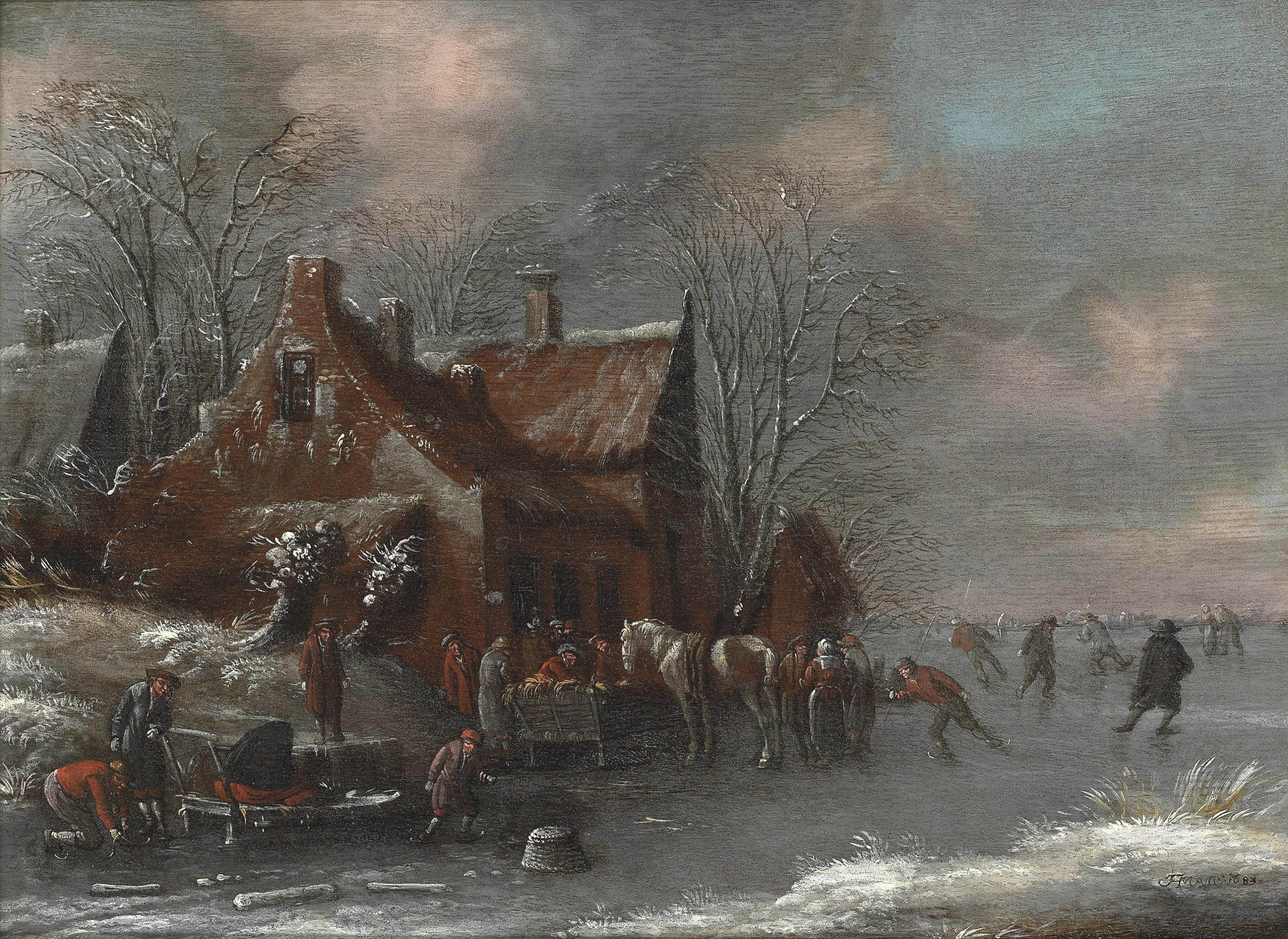 A winter landscape with figures skating on a frozen river by a village