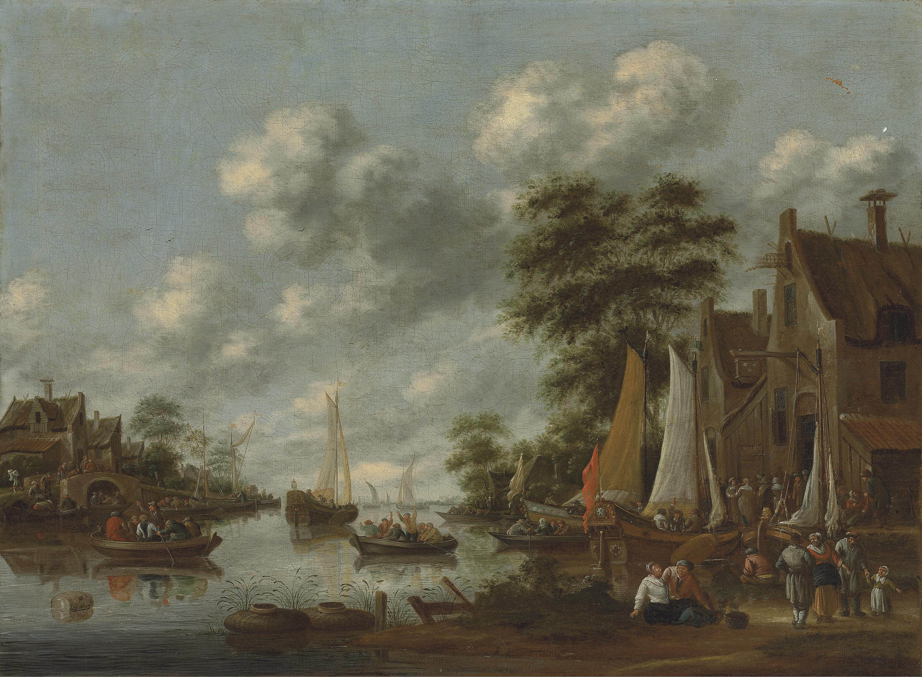 A river landscape with ferry boats and other vessels, figures disembarking by an inn