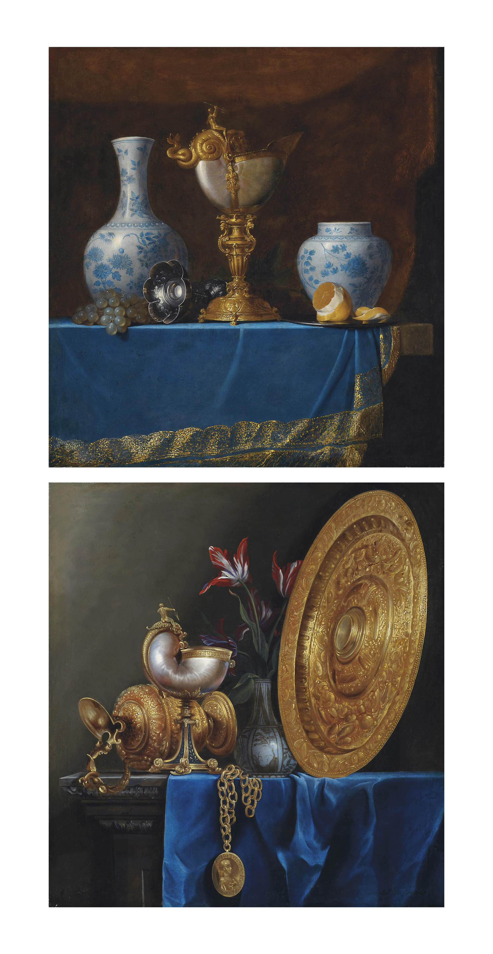 A nautilus cup, 17th Century Chinese porcelain vases, grapes, a pewter chalice and a partly peeled lemon on a draped table; and A nautilus cup, a gilded ewer, tulips in a vase, a gilded sideboard dish and a medallion on a partly draped table