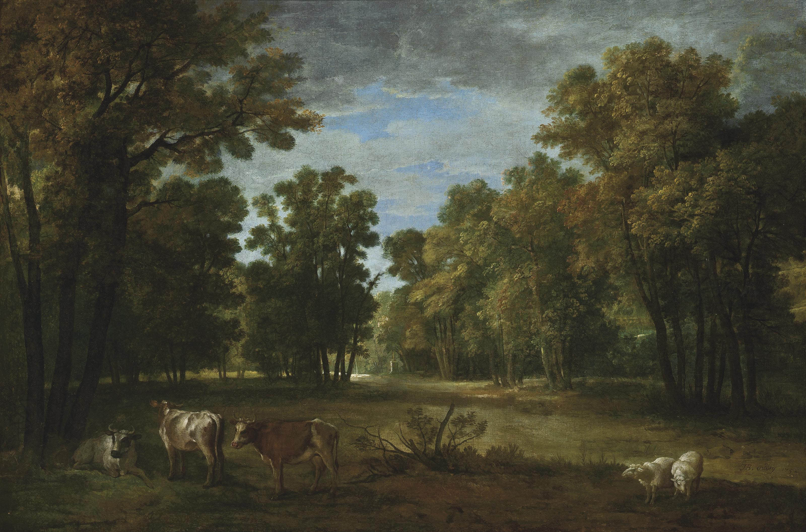 A wooded landscape with cattle and sheep, a statue in the clearing beyond