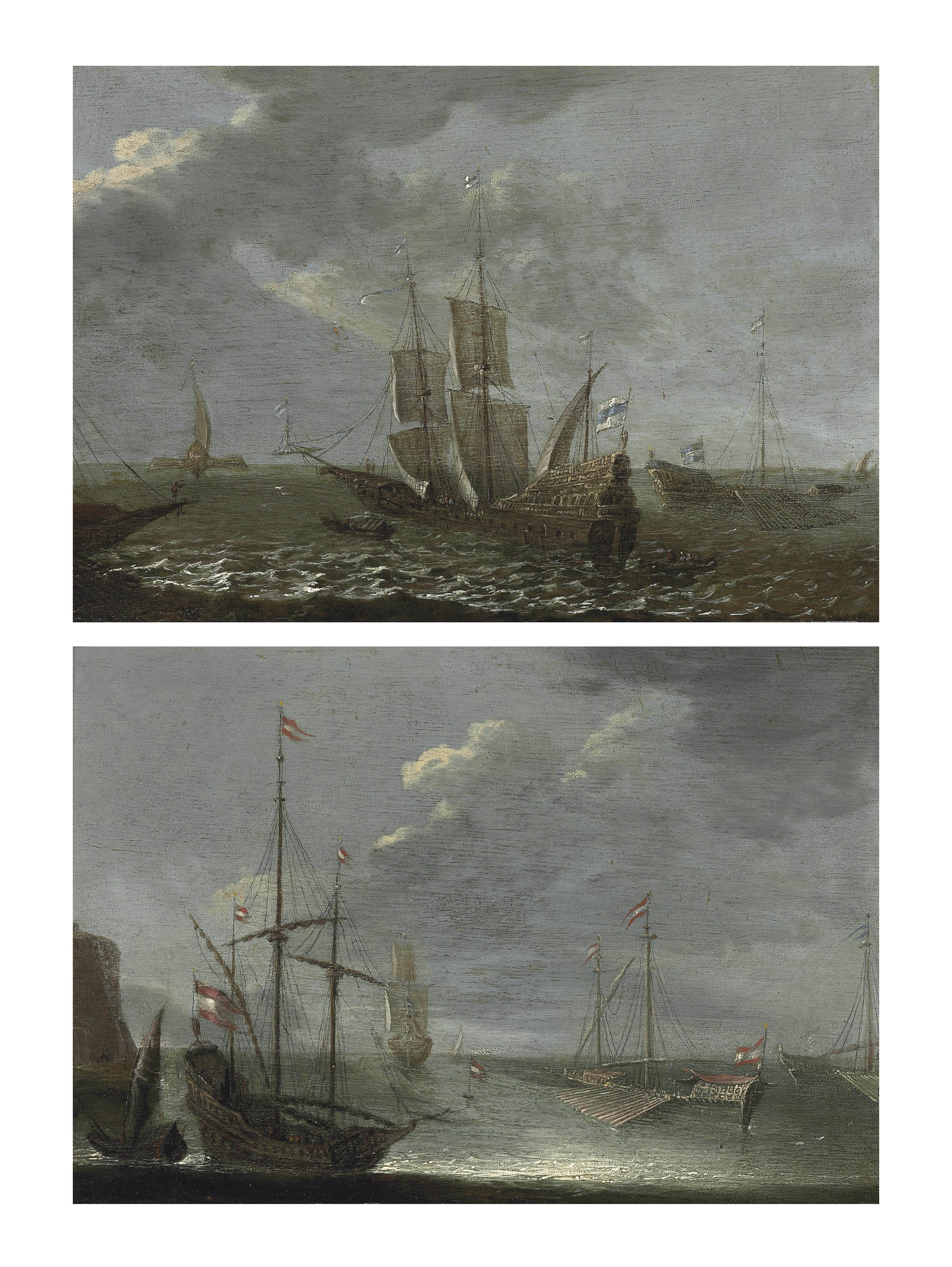 Shipping in a fresh breeze; and A kaag and other shipping offshore in calm waters