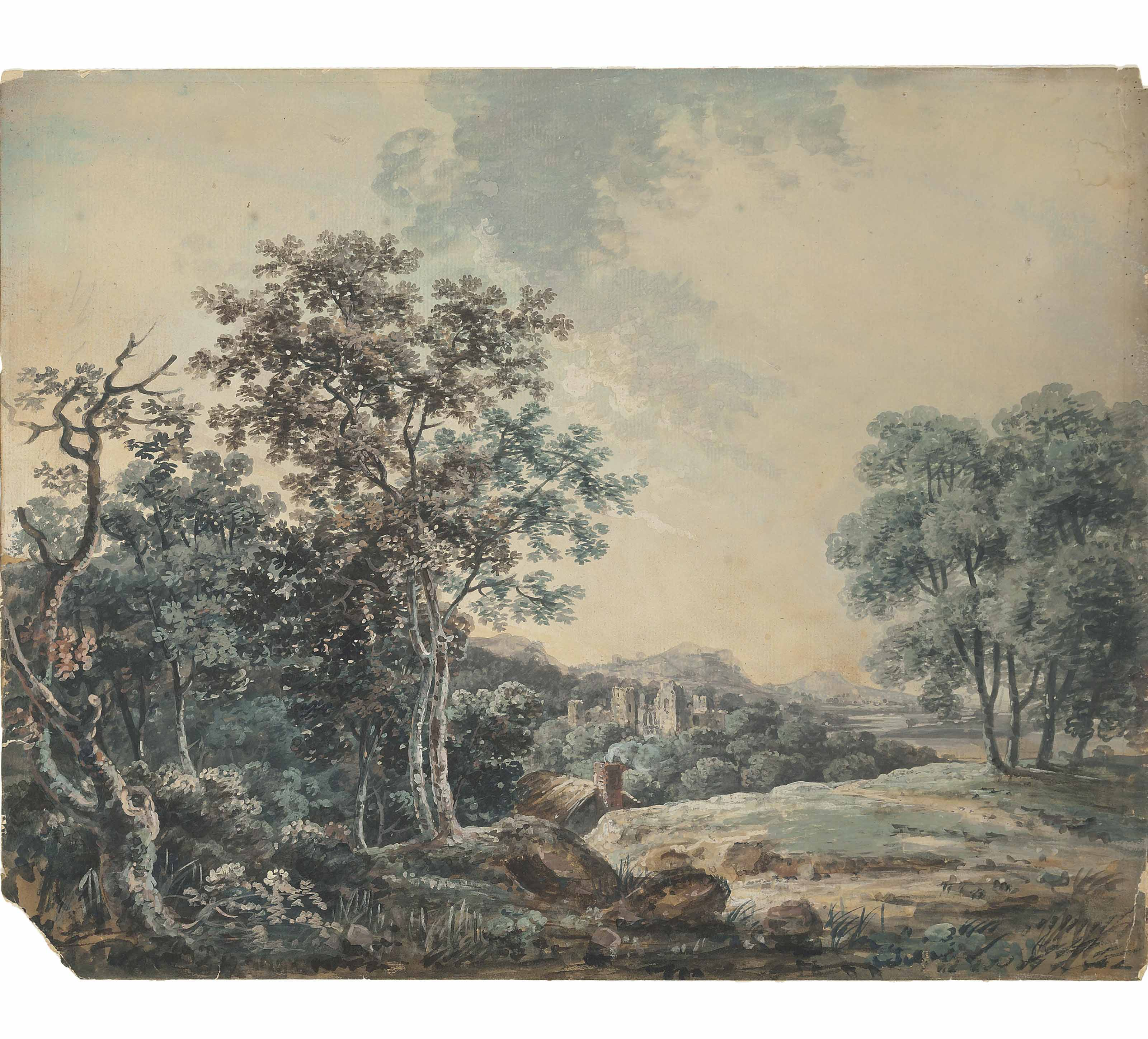 A mountainous river landscape; and A ruined castle in a wooded landscape (illustrated)