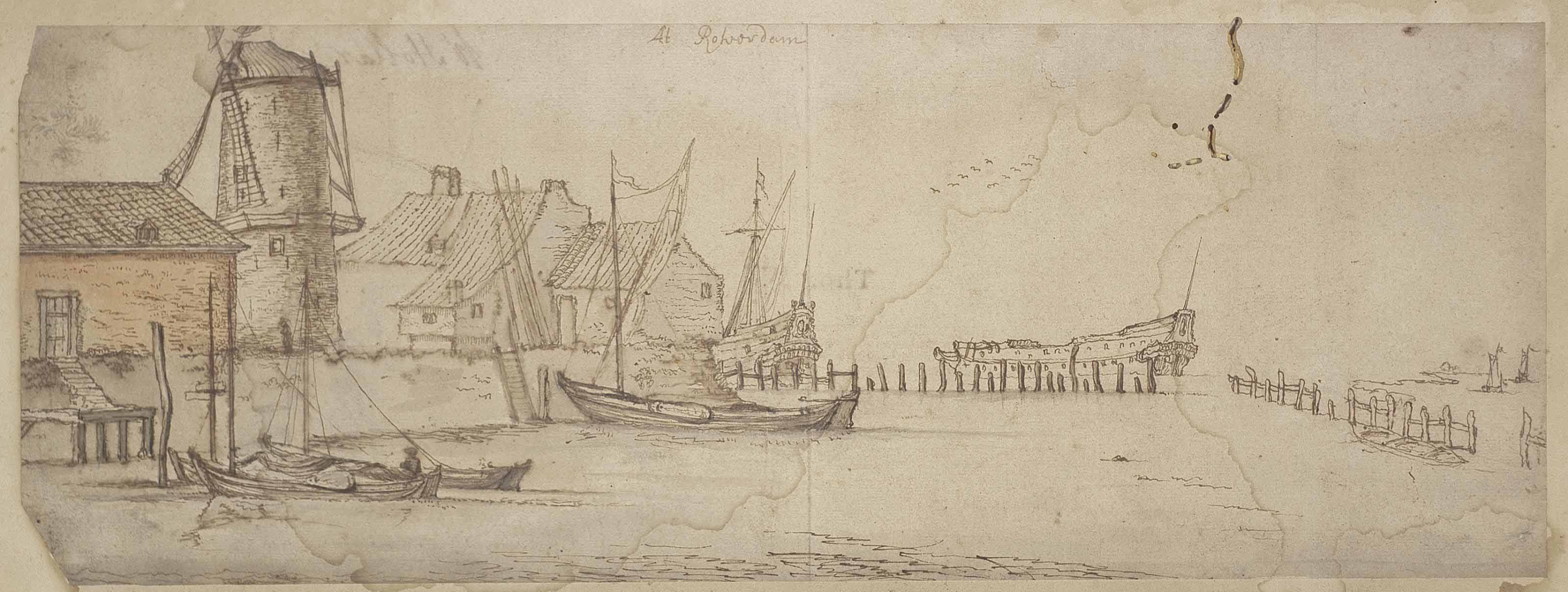 Fishing vessels and men o' war in a harbour at Rotterdam