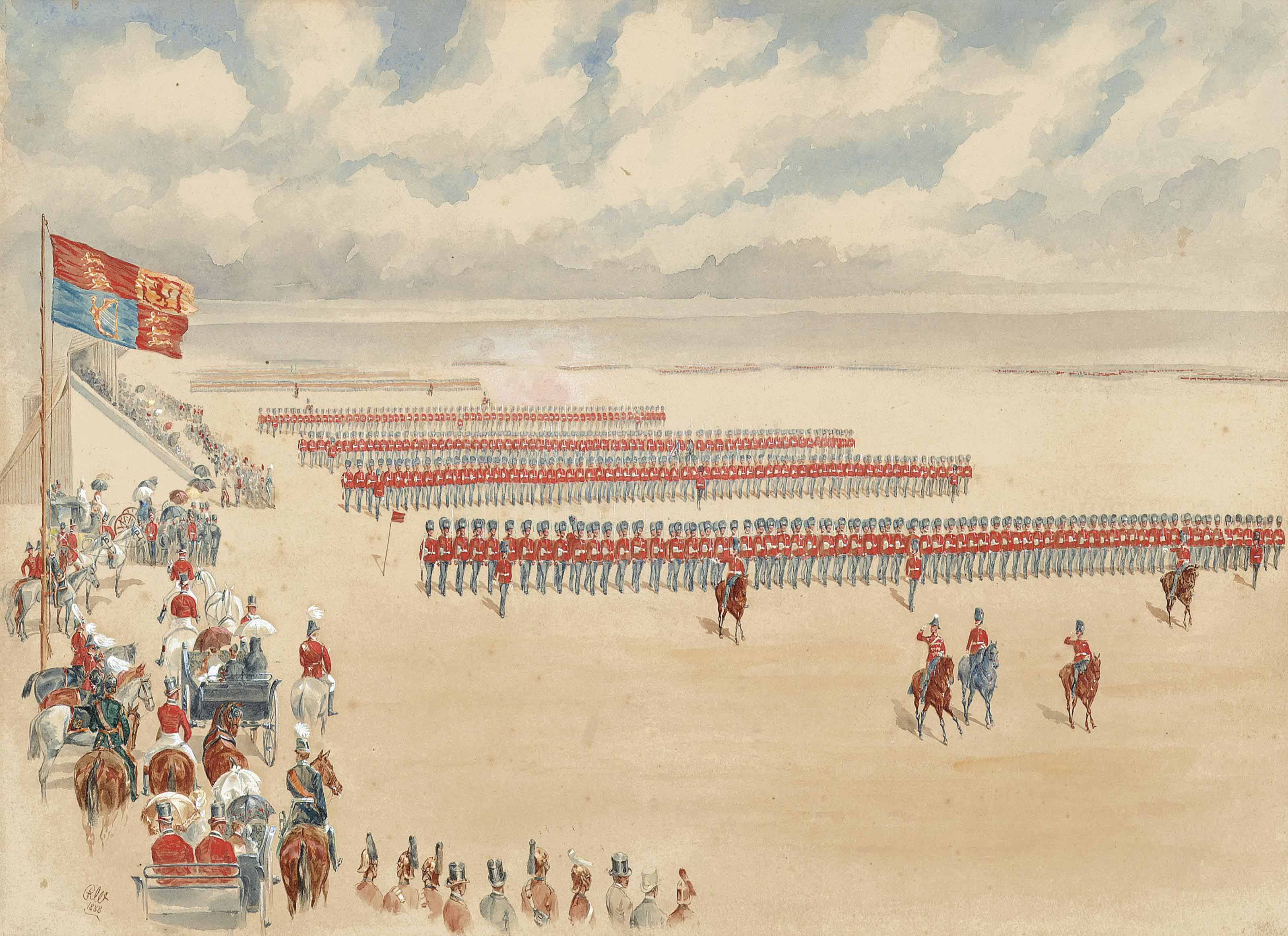 The march past of the Northumberland Fusiliers before Queen Victoria at the Jubilee Review, Aldershot, 7th July 1887