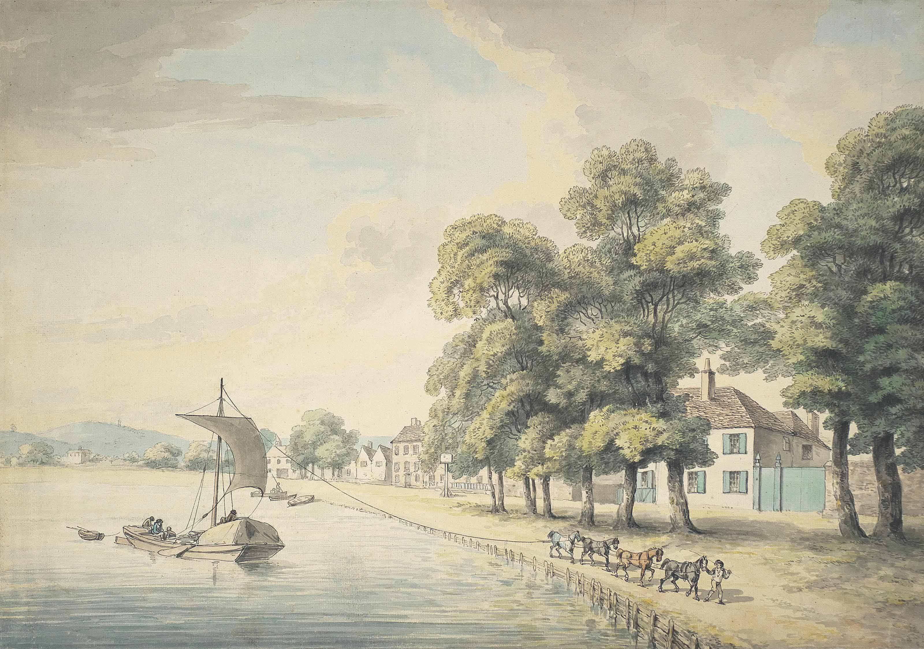 A figure leading horses pulling a barge along a river, possibly Hammersmith Mall, London