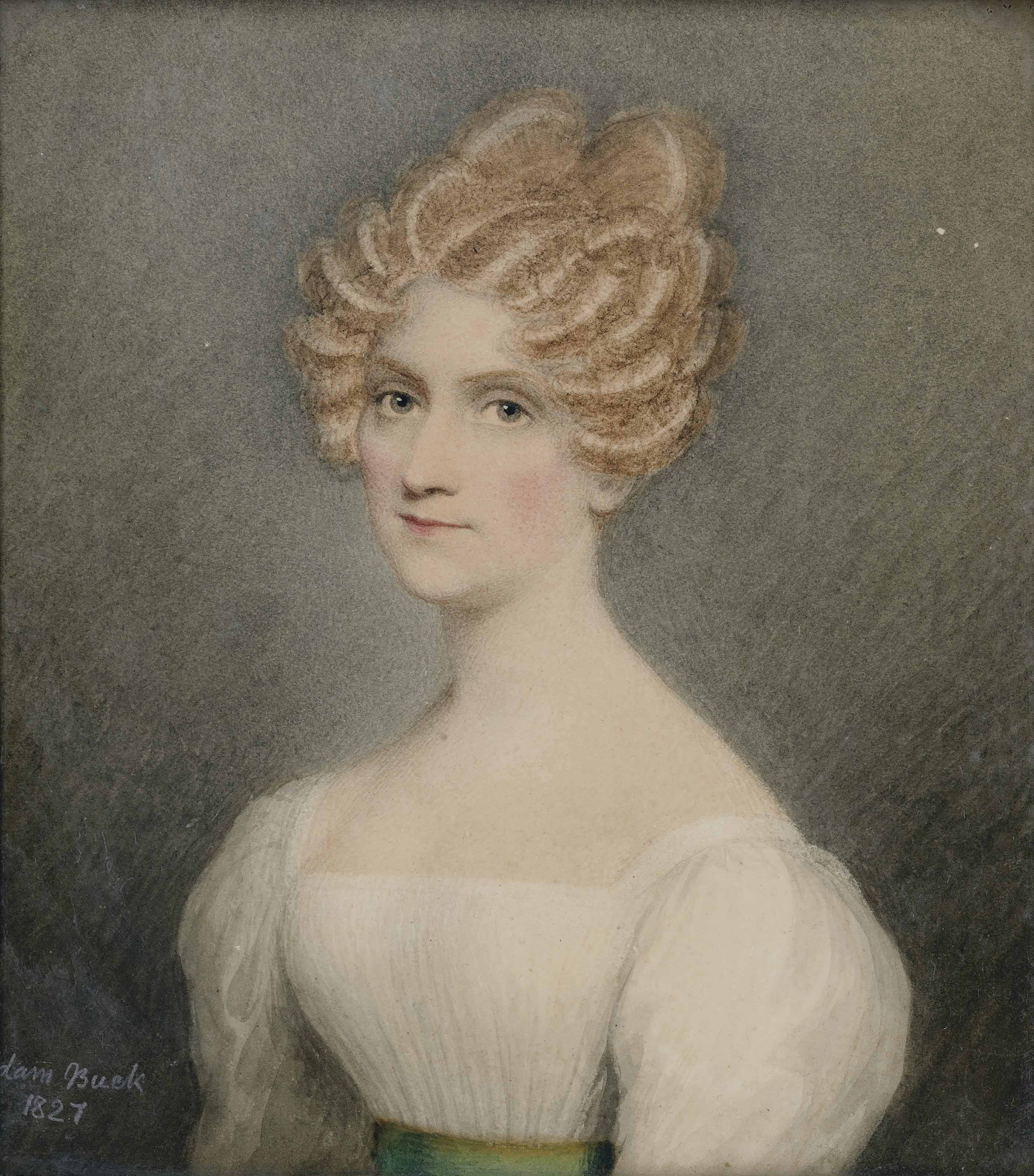 Portrait of Sarah Wright-Hewell (née Bartholomew), half-length, in white dress, her hair upswept