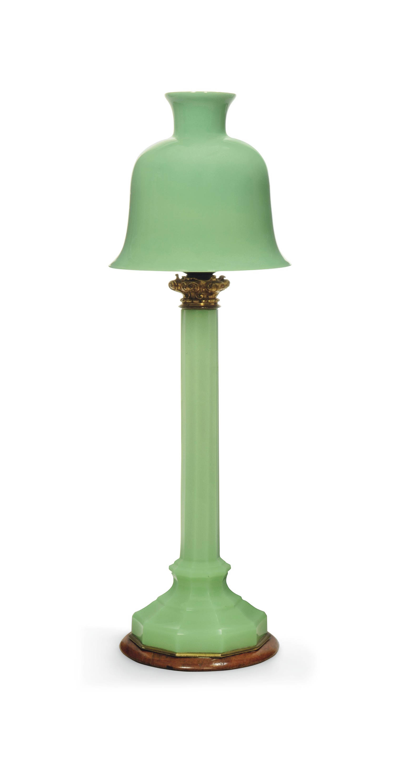 A FRENCH CUT OPALINE GLASS AND GILT-BRASS TABLE LAMP