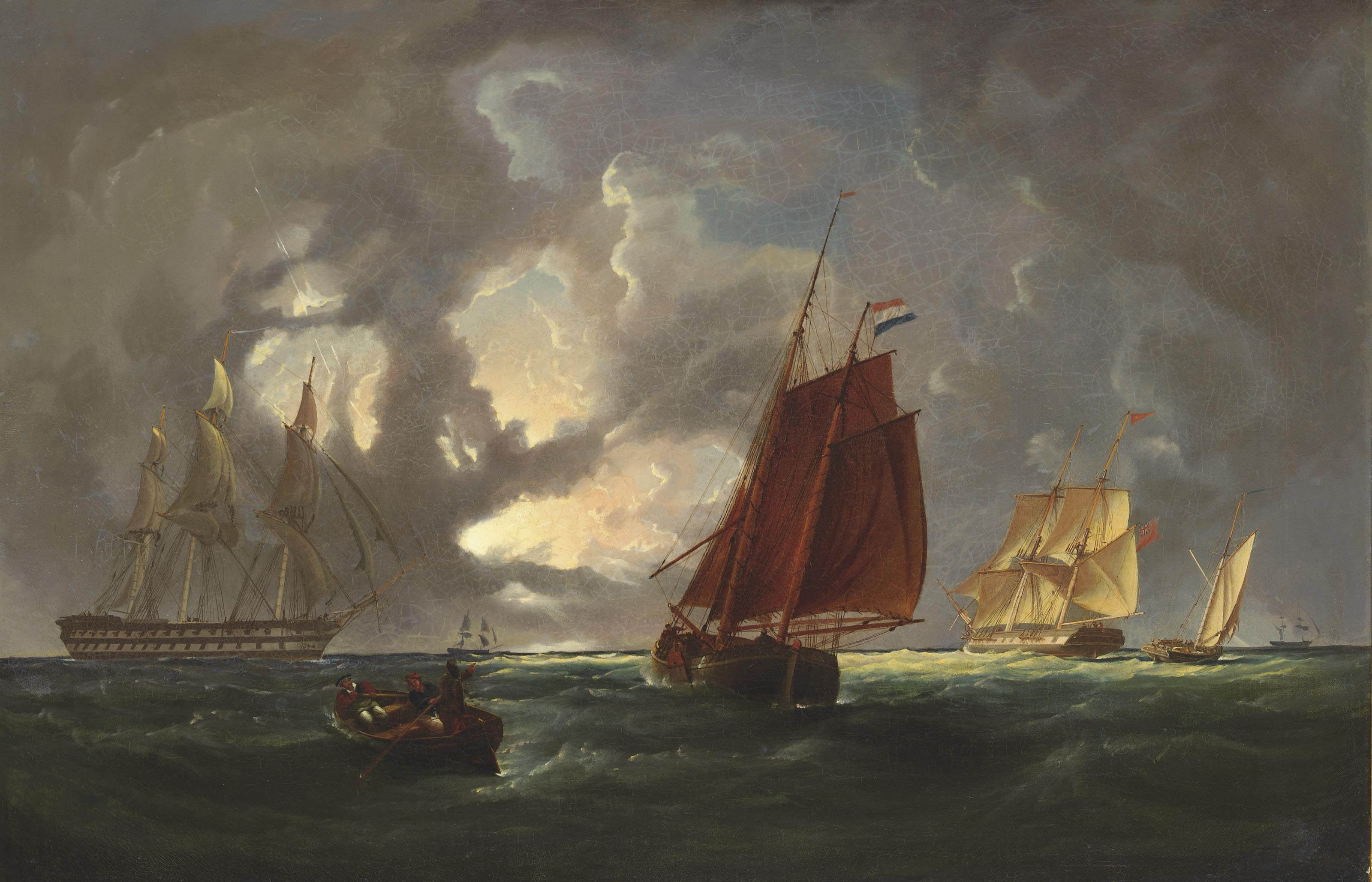 Warships and other shipping in a thunderstorm