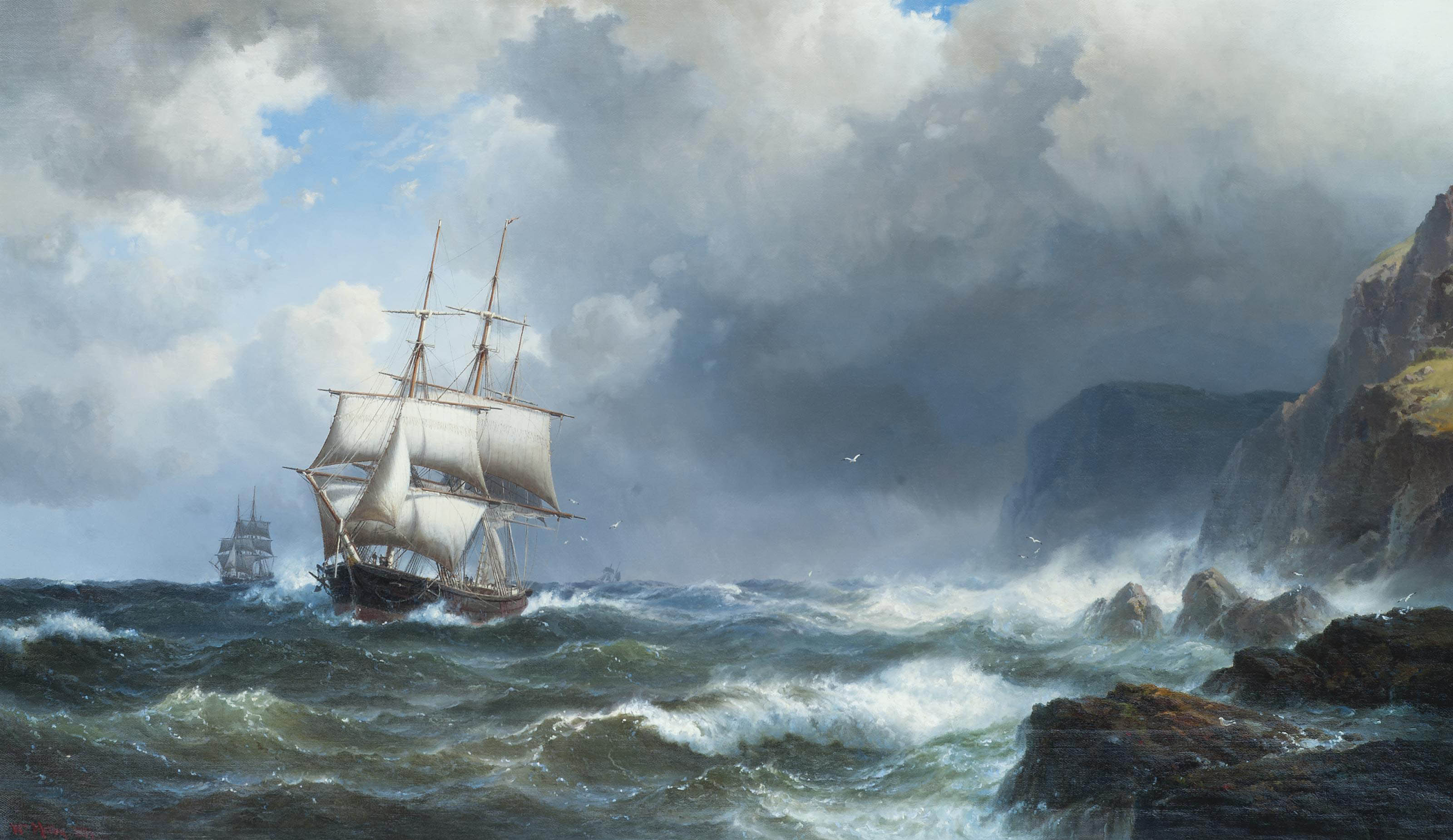 Rough weather off Land's End, Cornwall