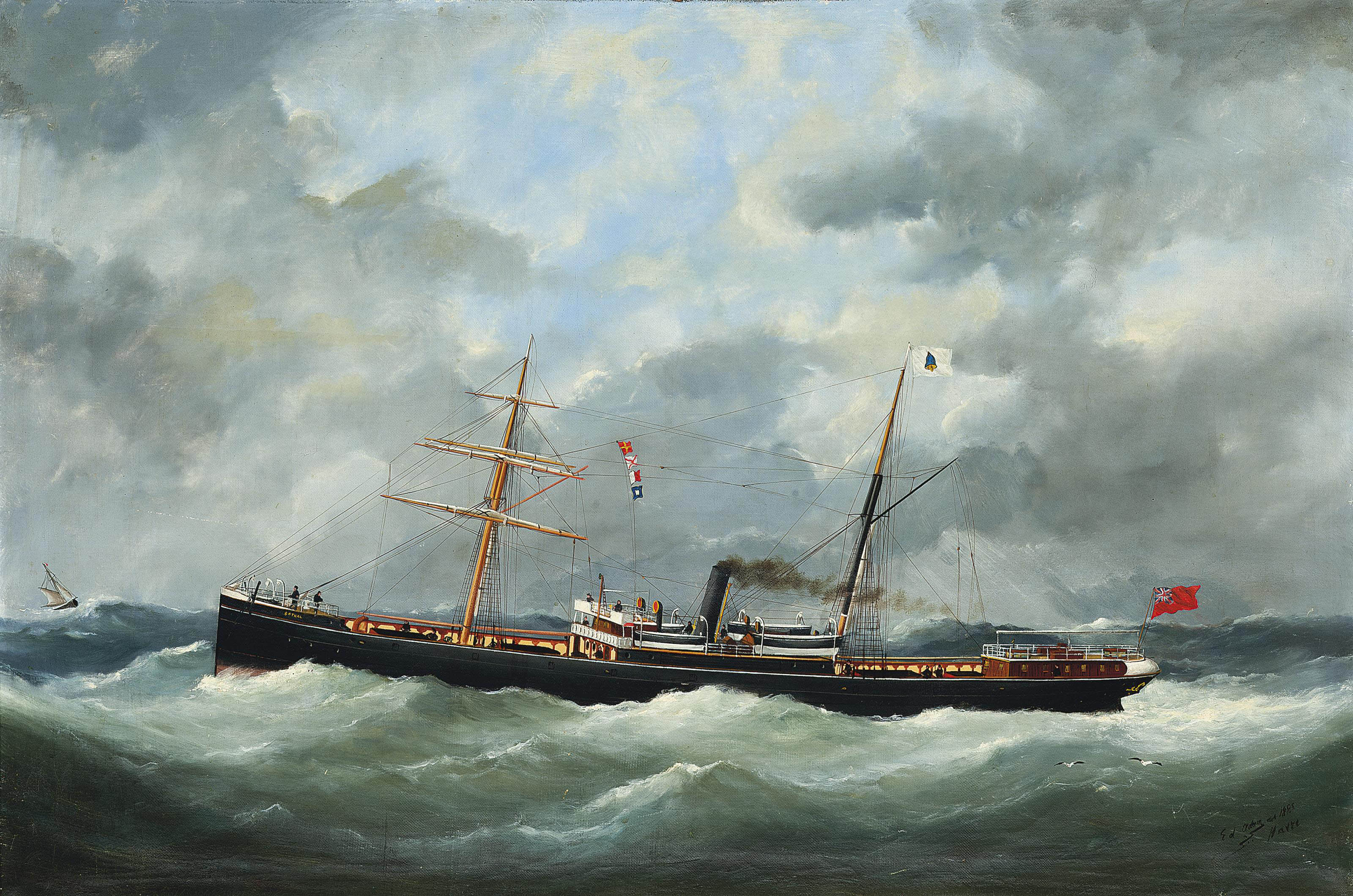R. Bell & Co.'s steamship Bothal in a heavy swell
