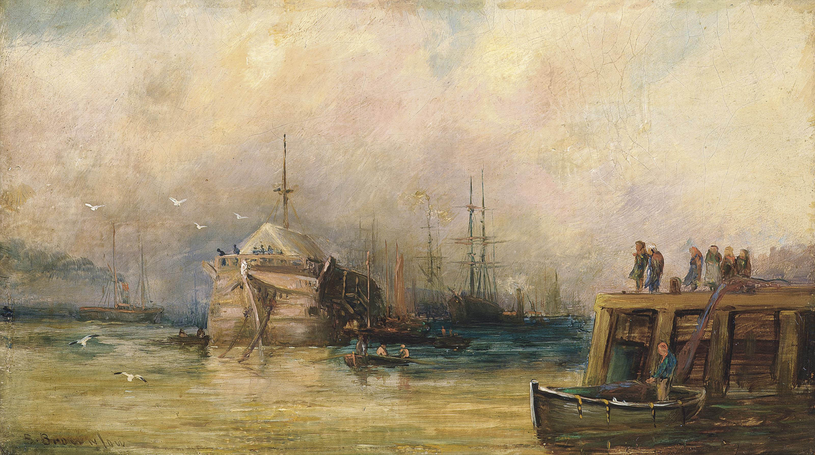 The training ship Wellesley and other shipping on the Tyne