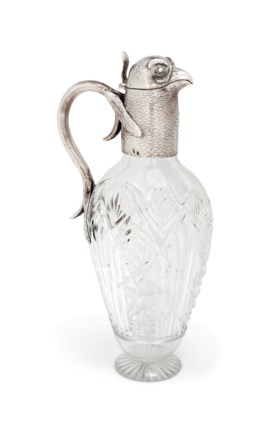 A RUSSIAN SILVER-MOUNTED CUT-GLASS NOVELTY CLARET JUG