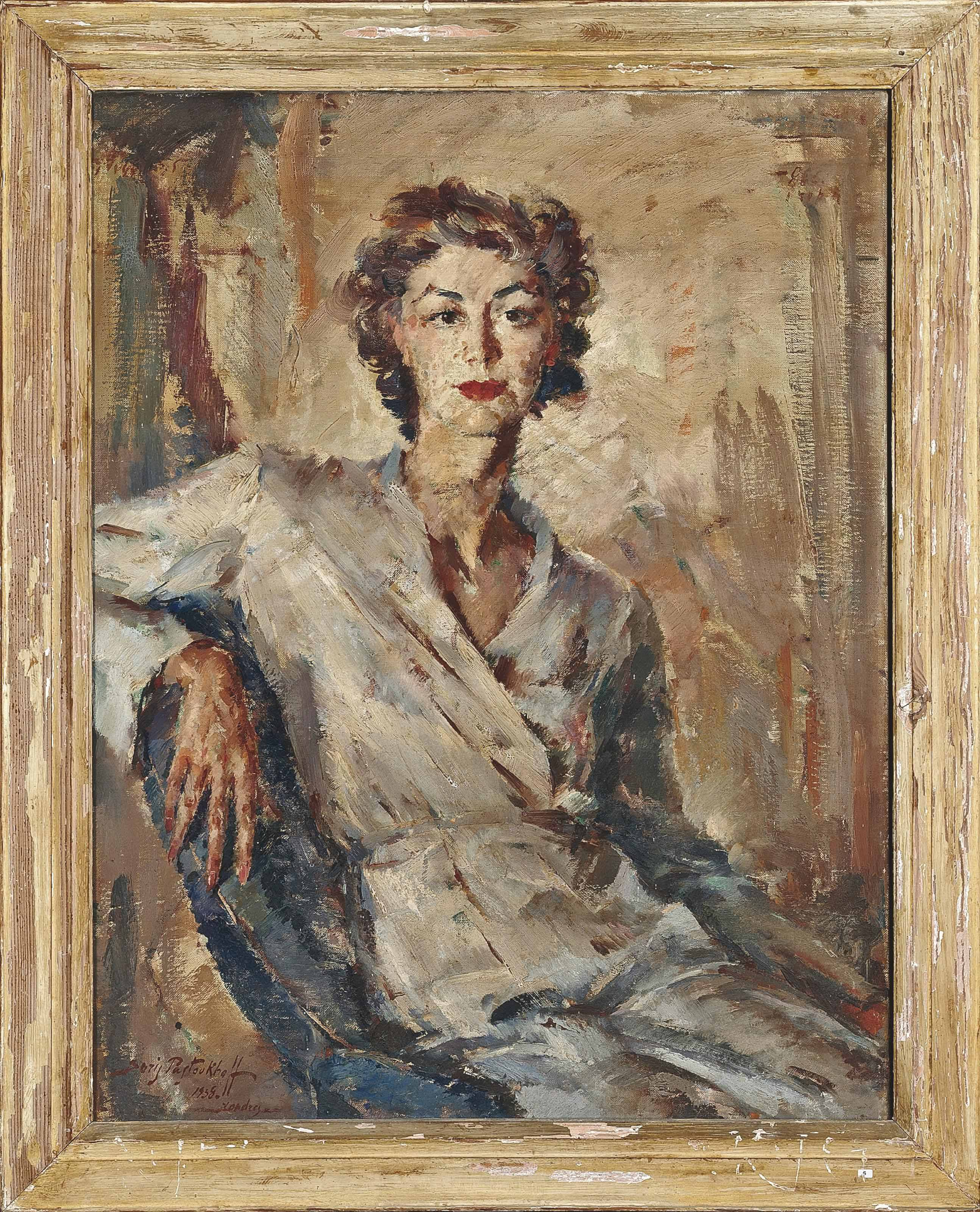 Portrait of Mrs Moore, seated, three-quarter-length, in a white dress