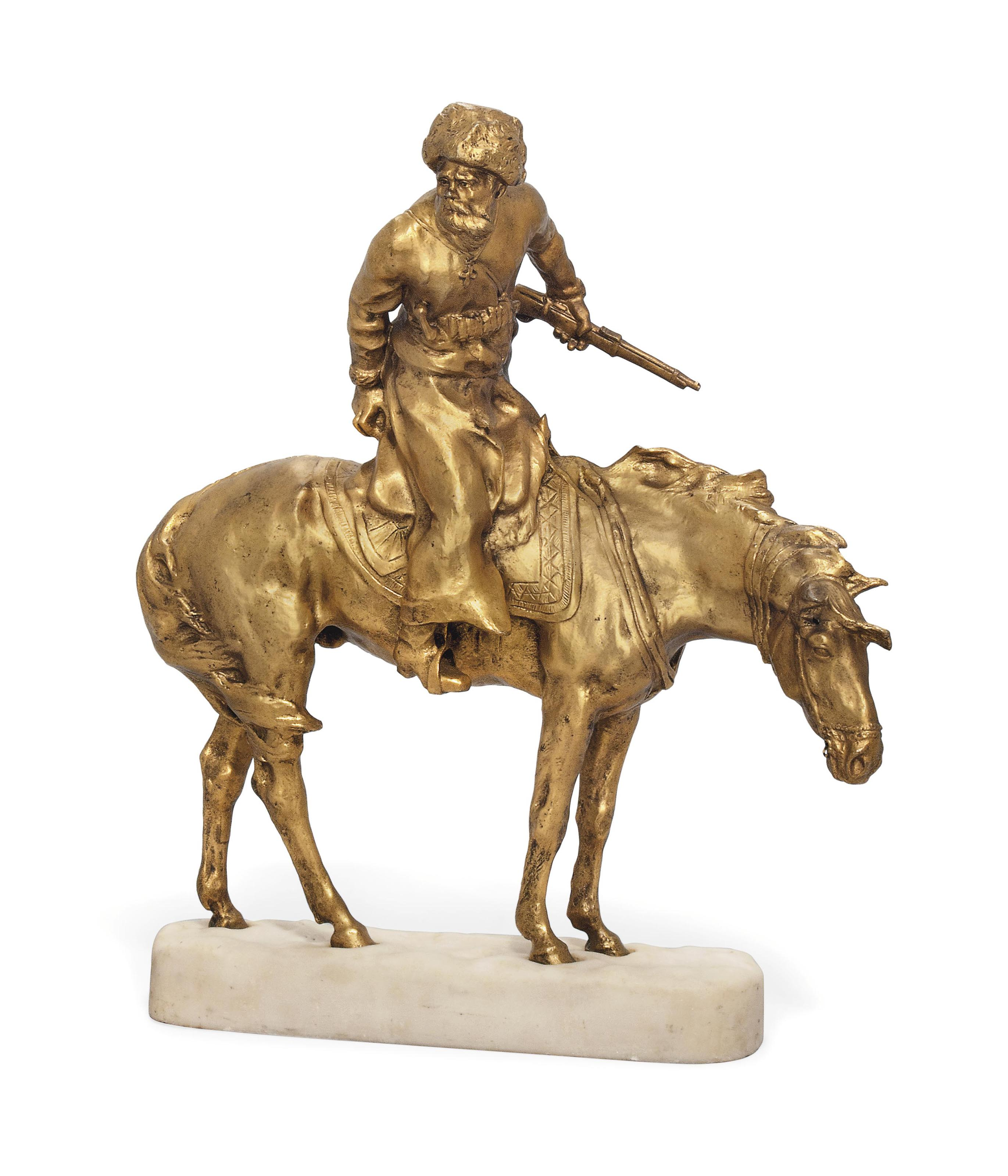 A FRENCH GILT-BRONZE GROUP OF A COSSACK ON HORSEBACK