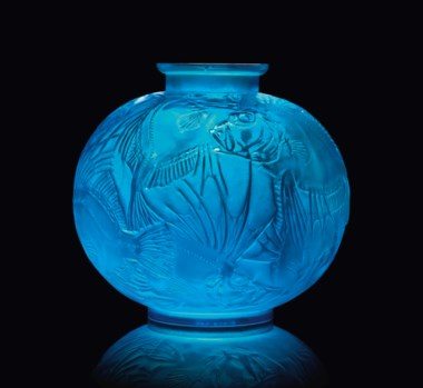 Rare Poisson Vase, No. 925, designed 1921. Electric blue intaglio R. Lalique, engraved France 24 cm high. Sold for £79,250 on 31 May 2012  at Christie's in London, South Kensington