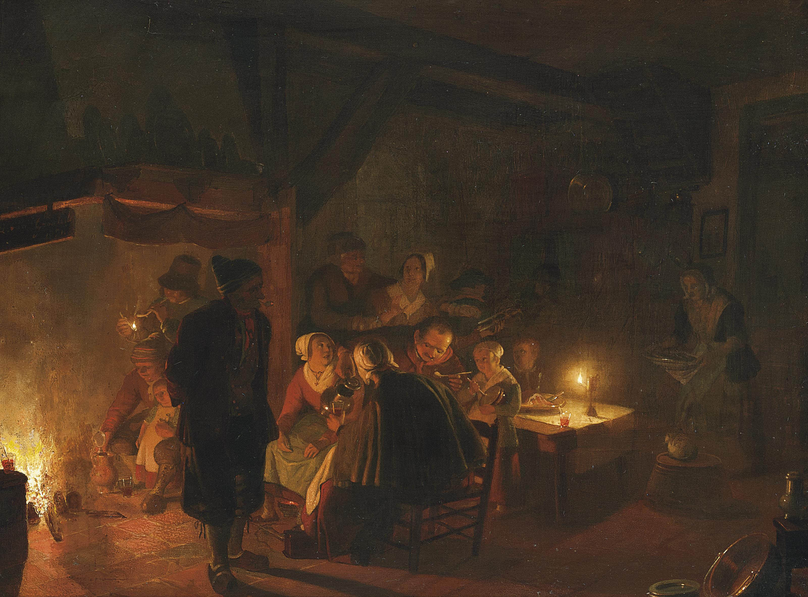 A family eating by candlelight in an interior