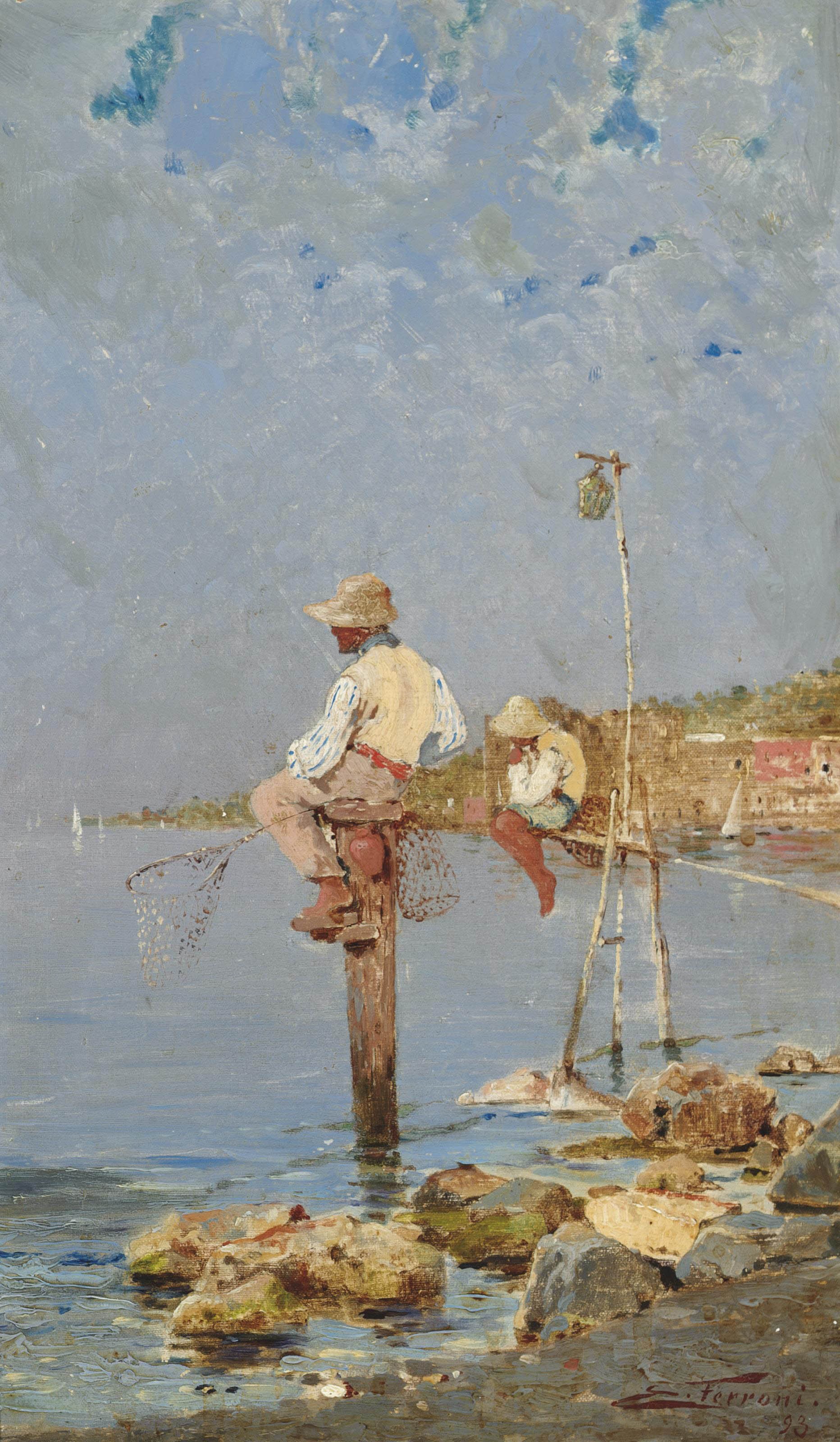 Boys fishing on the Italian Coast