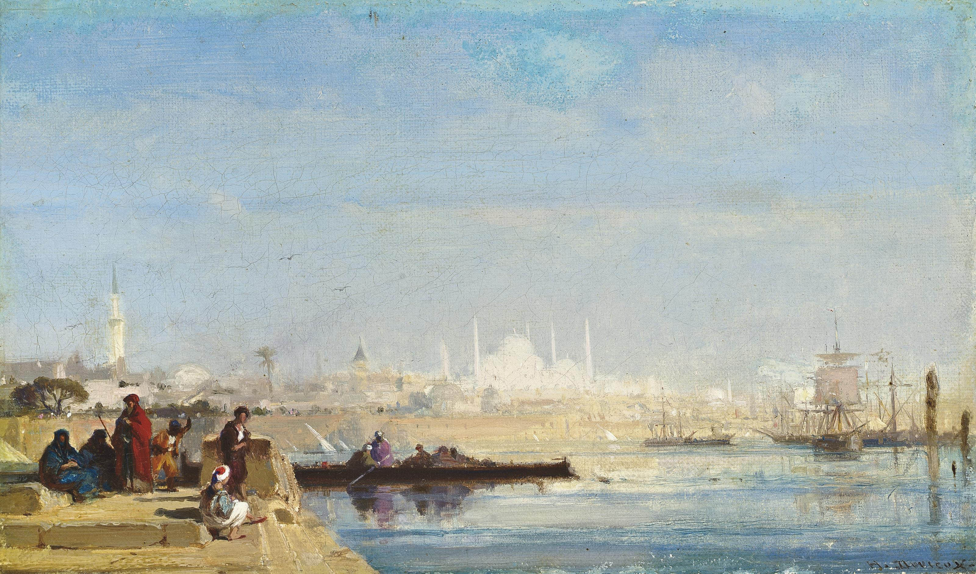 Turks waiting at a quay on the Bosphourus, Istanbul
