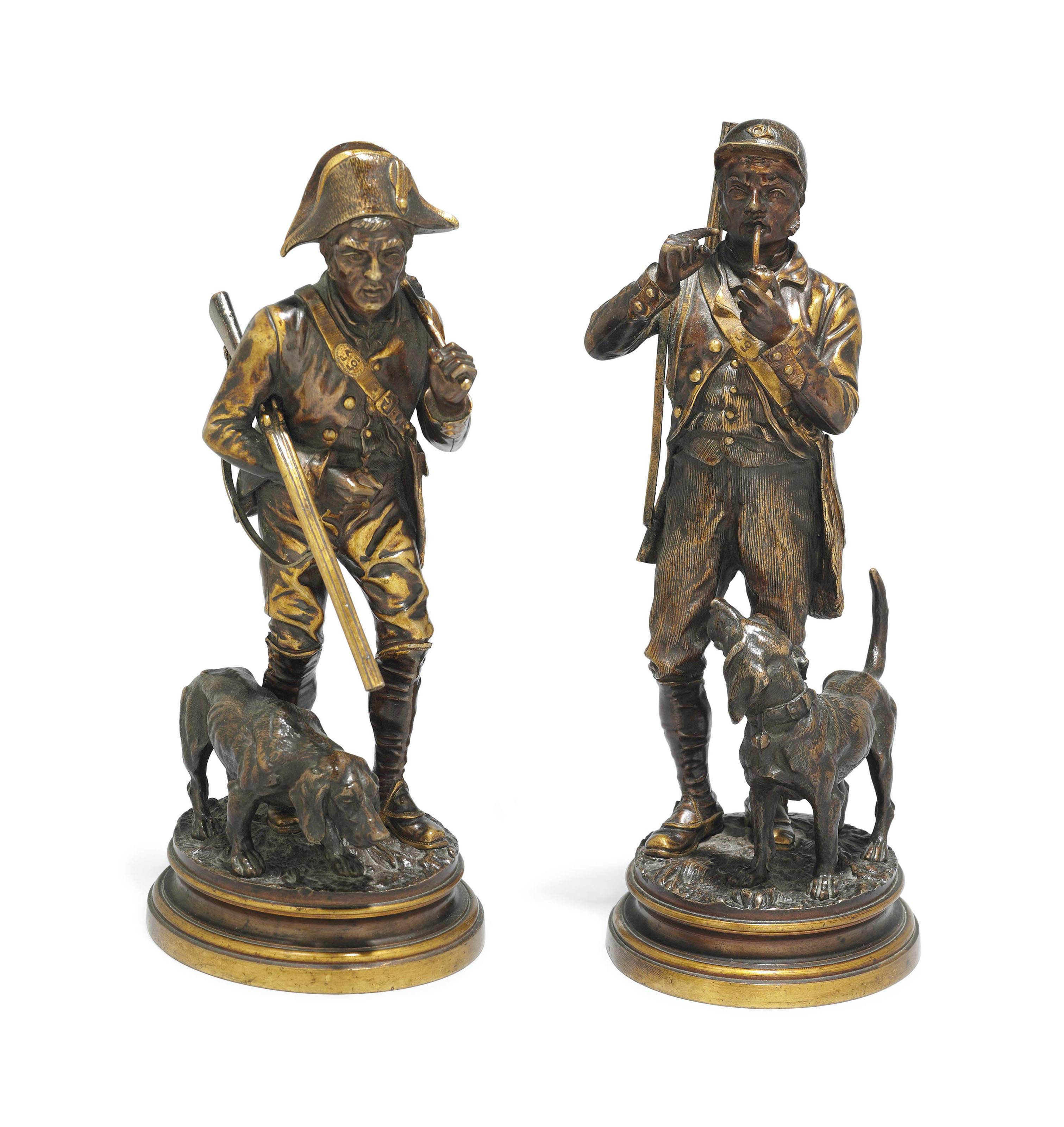 A PAIR OF FRENCH BRONZE FIGURES OF HUNTSMEN AND HOUNDS