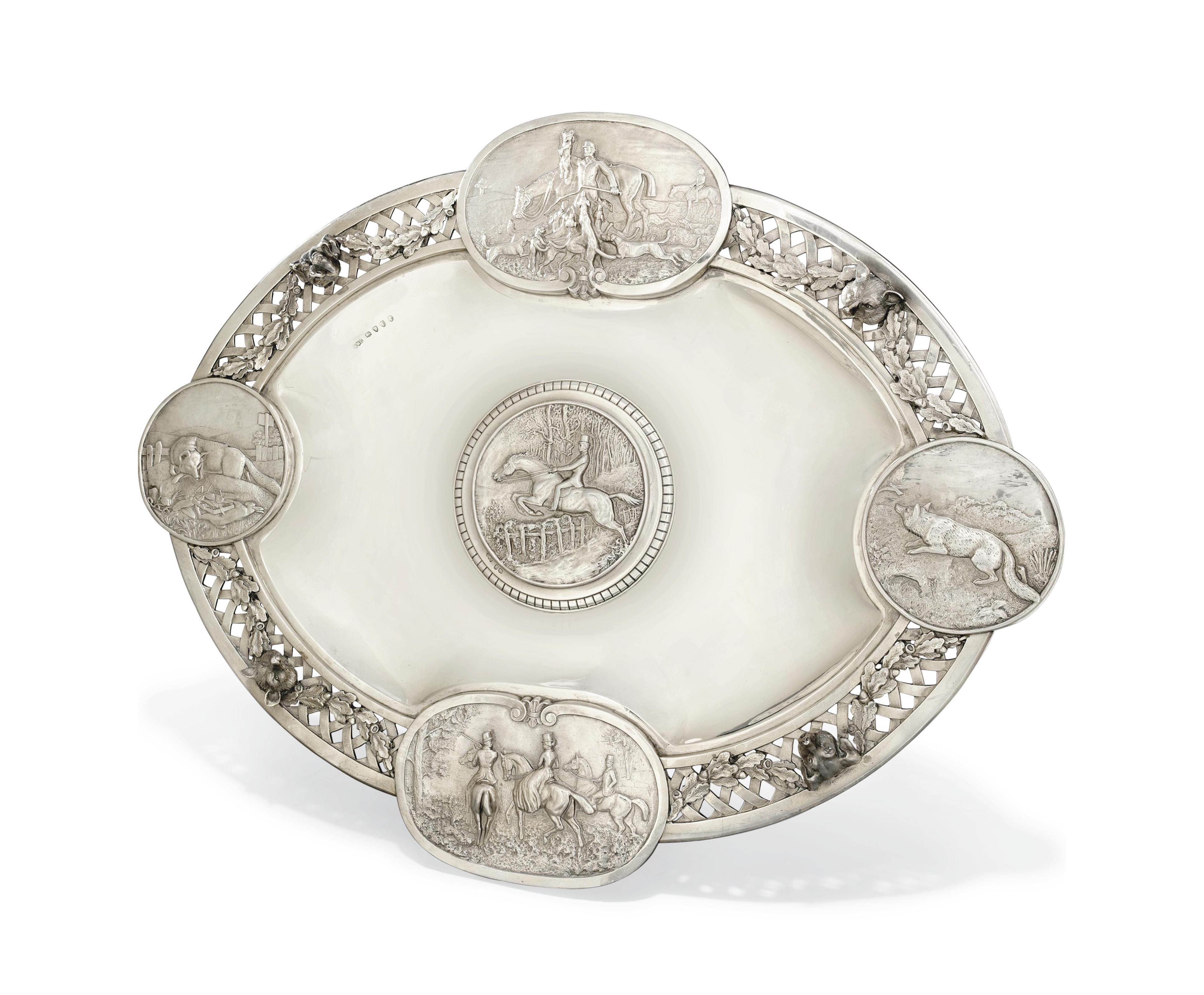 A VICTORIAN SILVER STAND OF HUNTING INTEREST