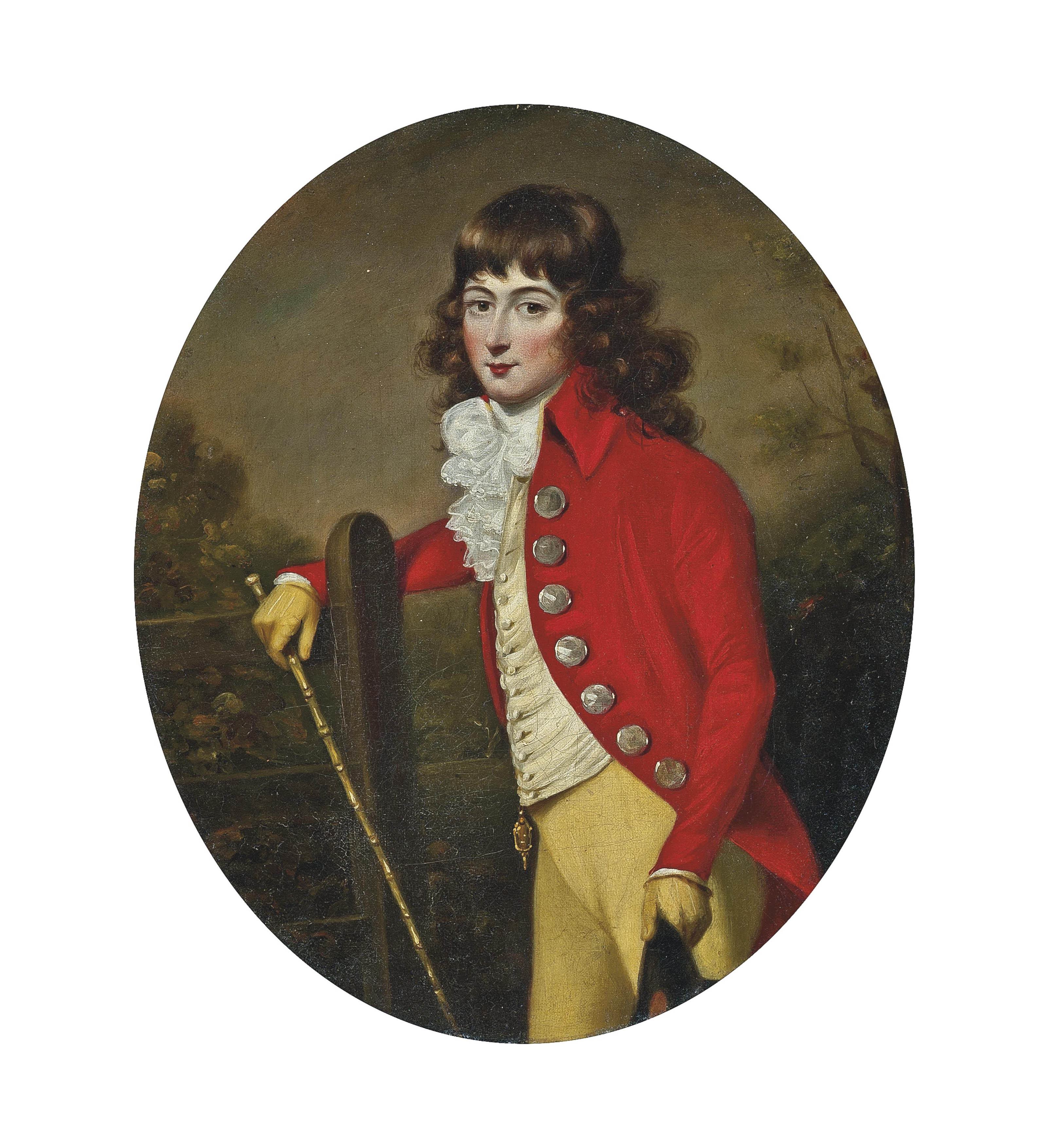 Portrait of a gentleman, three-quarter-length, in a scarlet coat and yellow breeches, a cane in his right hand, a hat in his left, in a landscape
