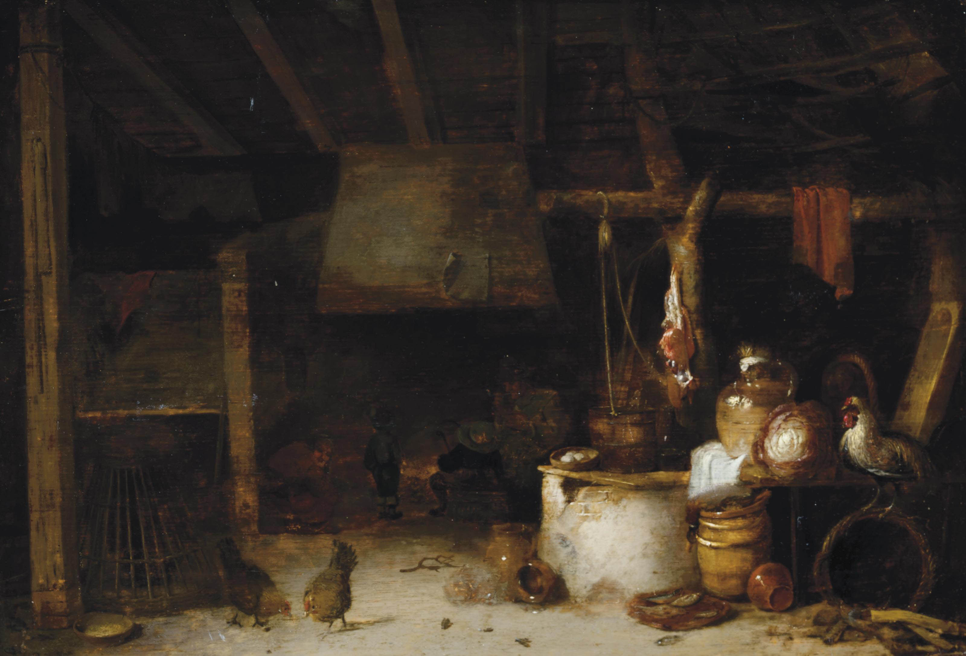 Figures by a fire, in an interior