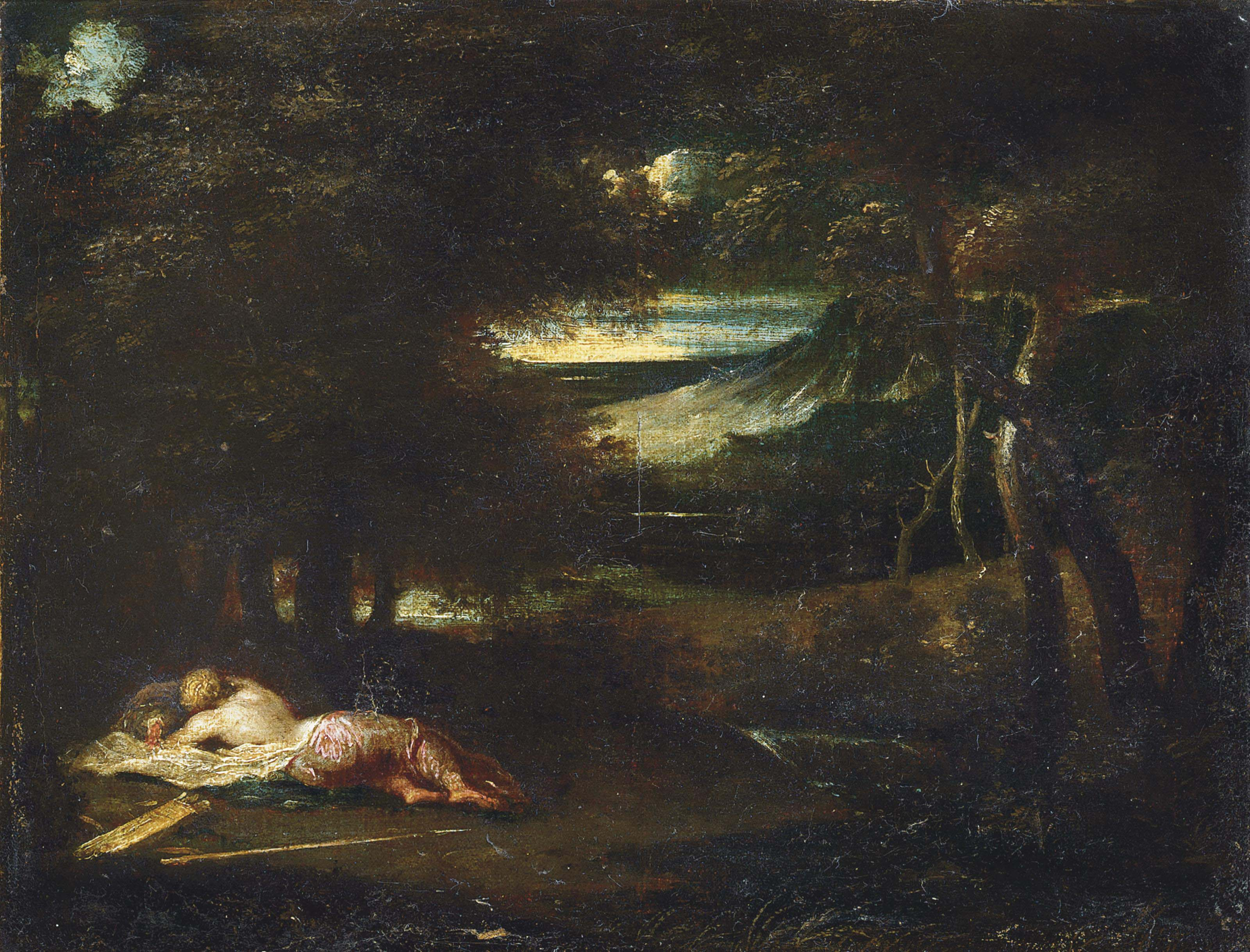 A wooded landscape with Diana sleeping
