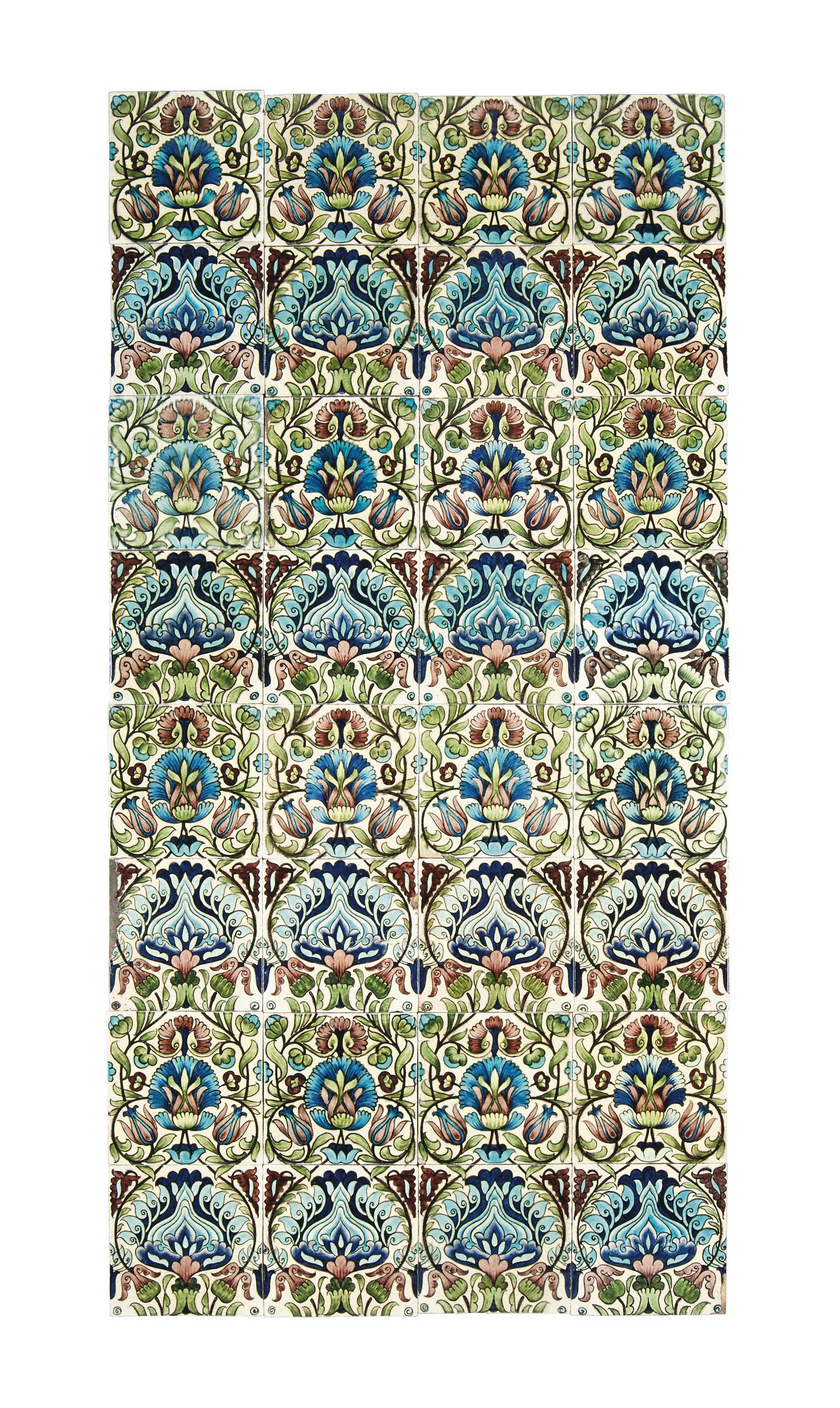 A WILLIAM DE MORGAN PERSIAN PATTERN PANEL OF THIRY-TWO SIX INCH CERAMIC TILES
