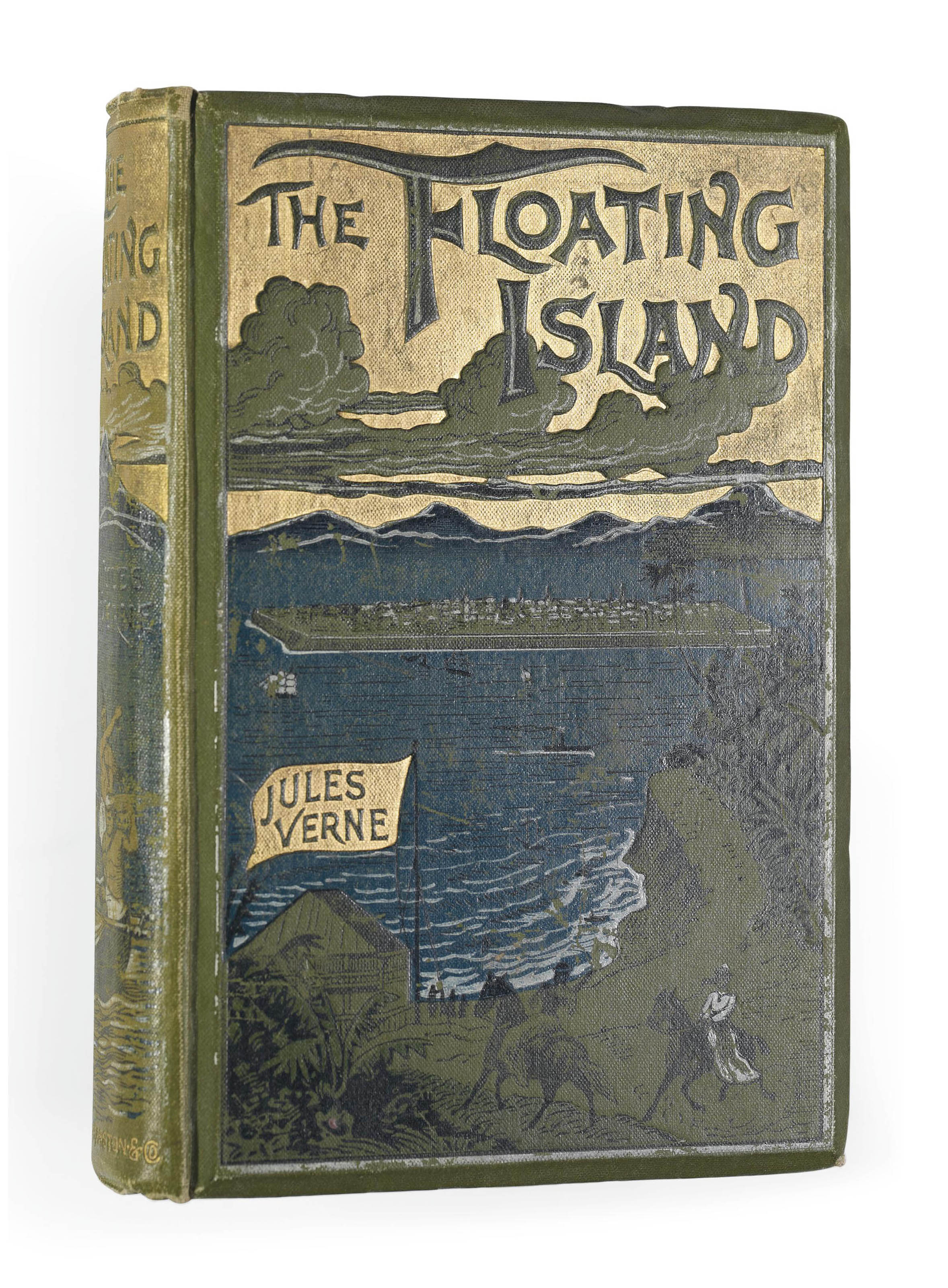 VERNE, Jules (1828-1905). The Floating Island. London: Sampson Low, Marston, 1896. 8° (180 x 120mm). 79 full-page illustrations. (Occasional light spotting.) Original green pictorial cloth, gilt edges (hinges cracked, extremities lightly rubbed). FIRST ENGLISH EDITION.