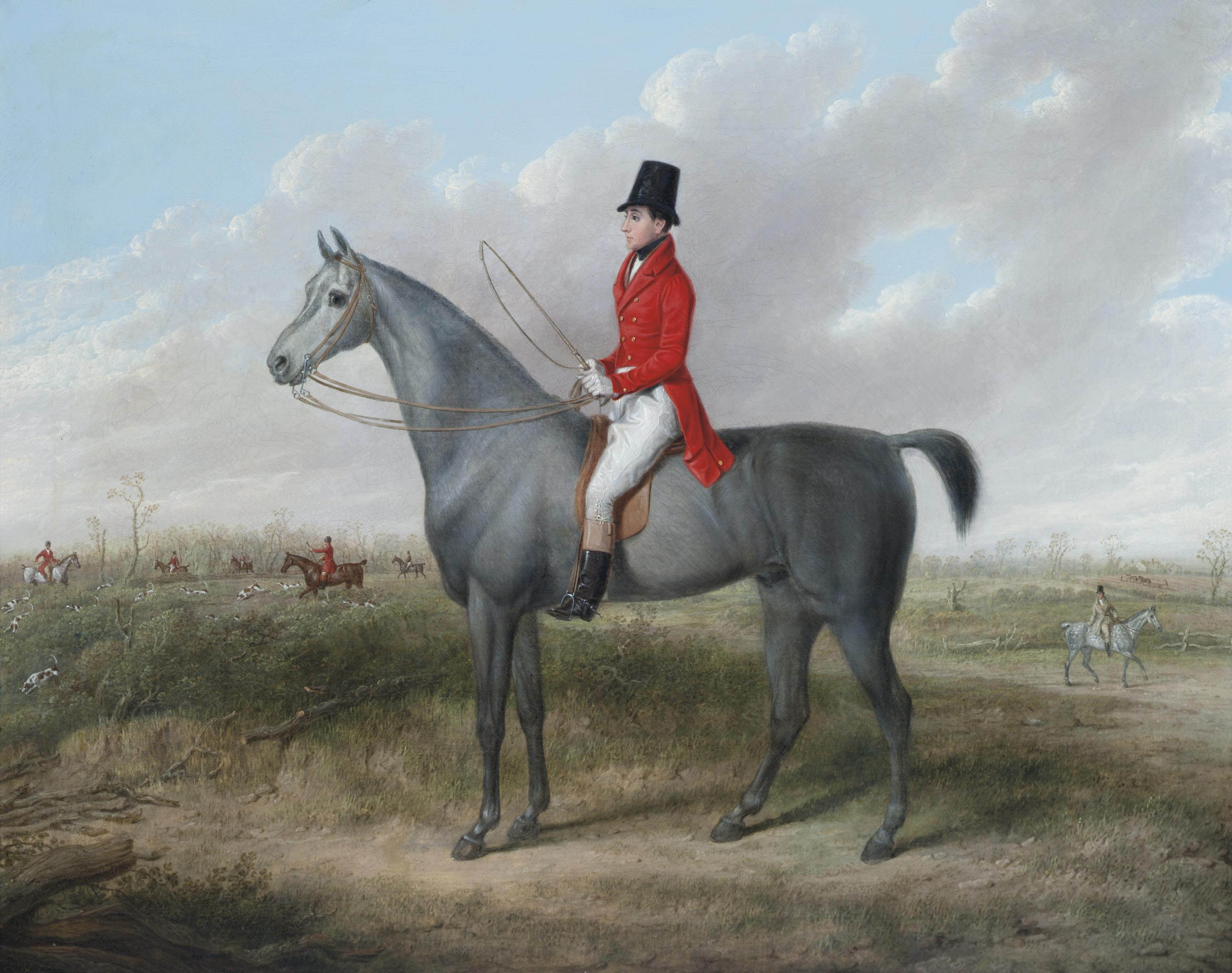 A gentleman on his grey hunter, a hunt beyond