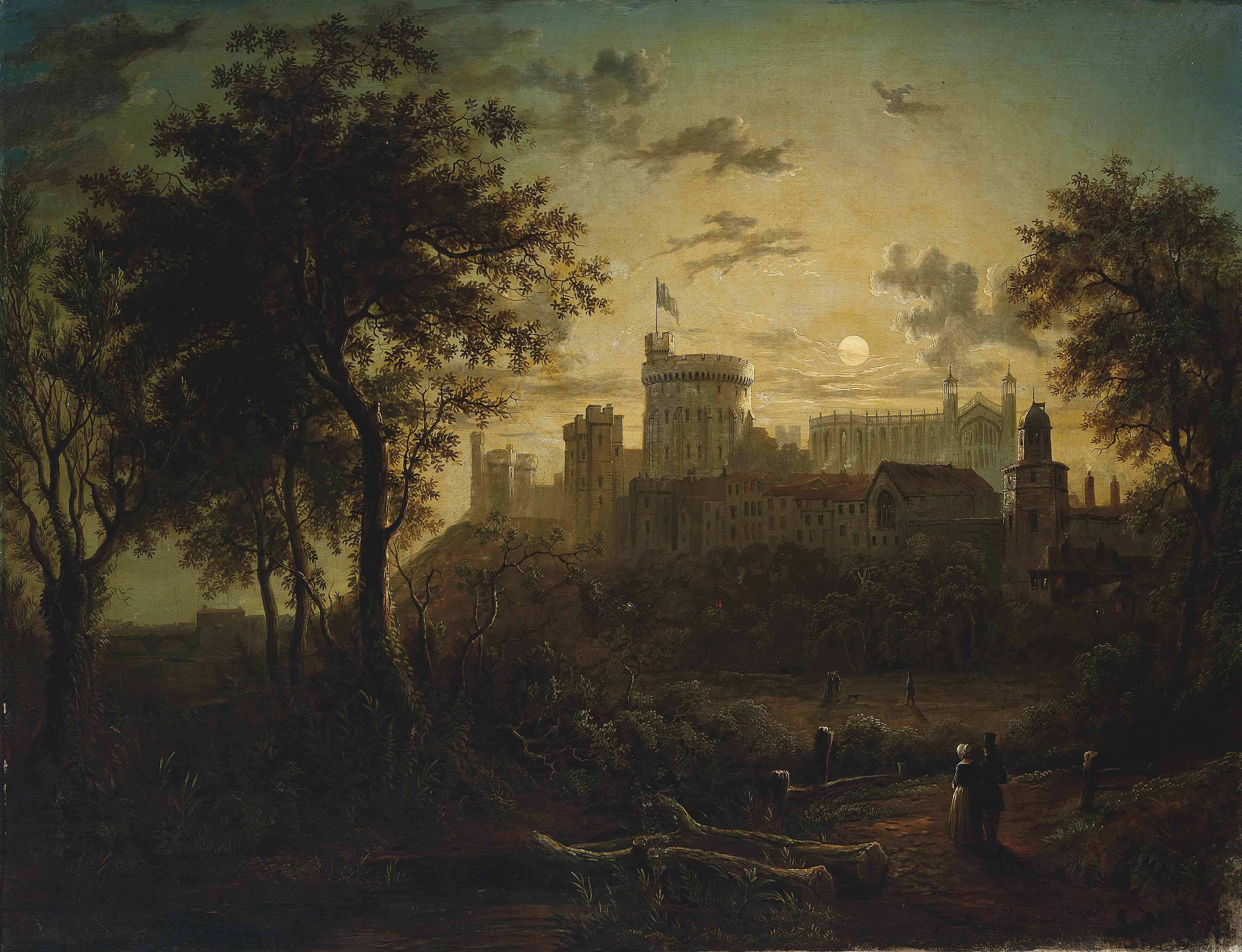 Figures before Windsor Castle, by moonlight