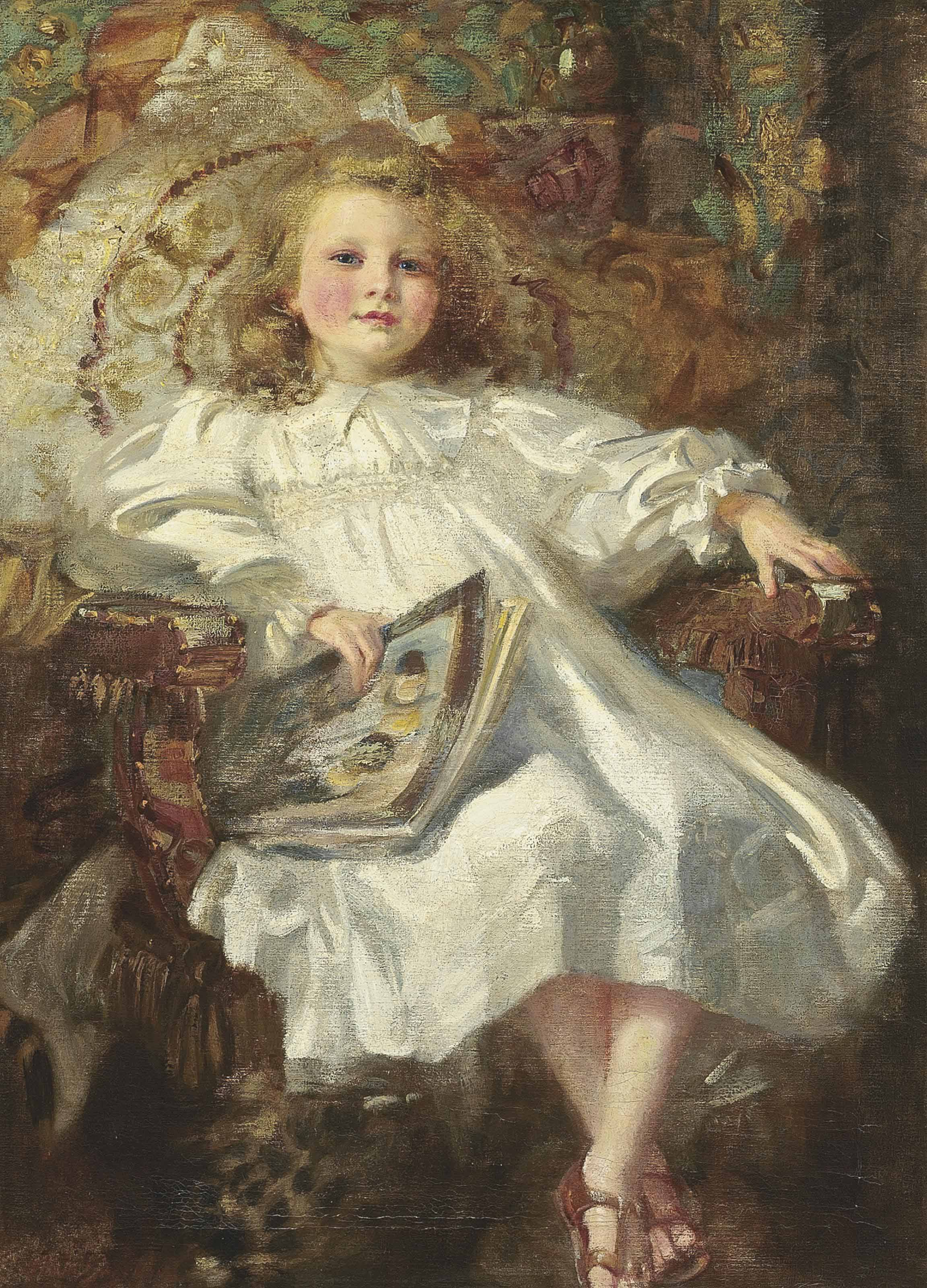 Portrait of a young girl, seated full-length, in a white dress and sandals