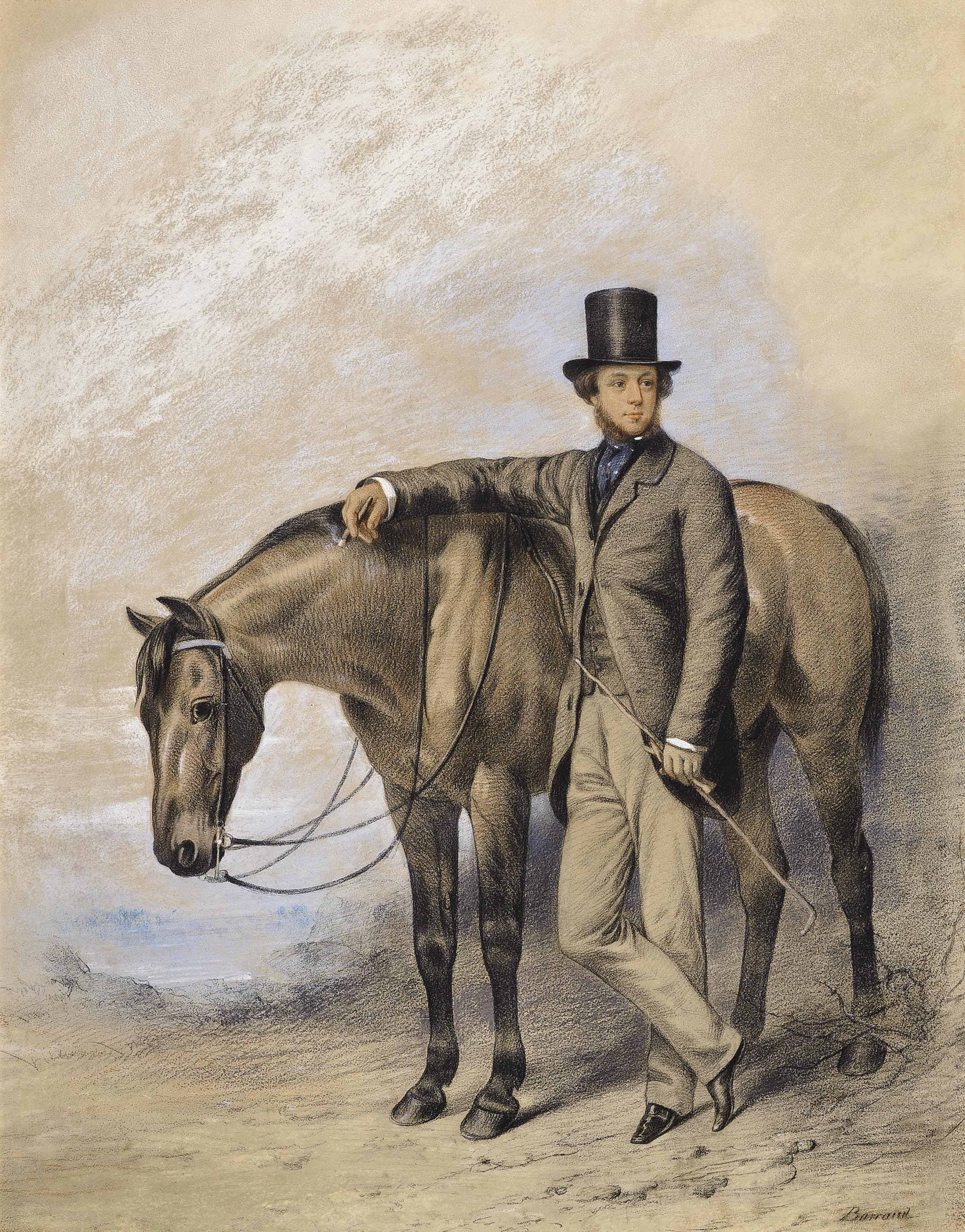 Portrait of a gentleman, standing full-length beside a horse, his crop in his hand