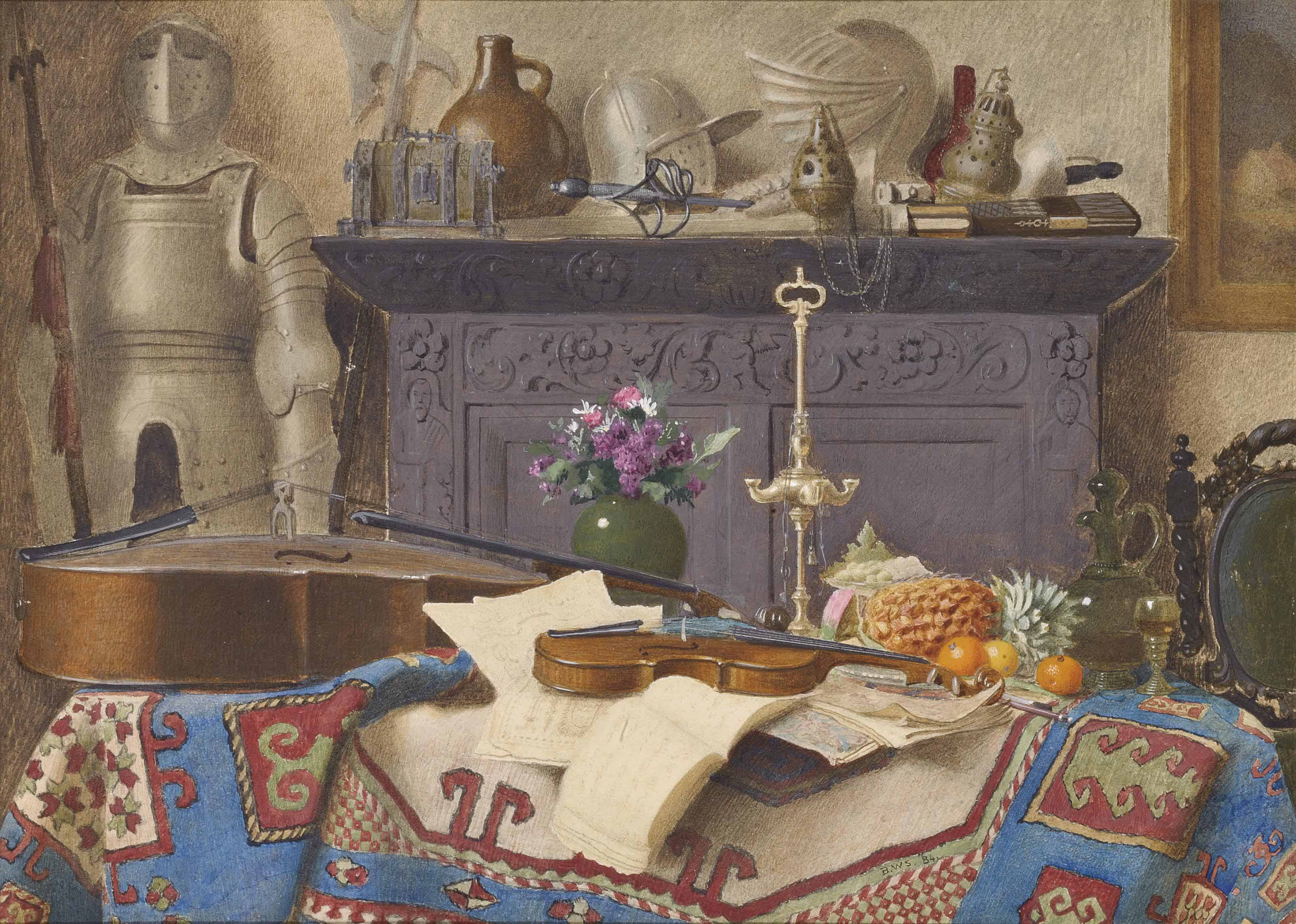A Connoisseur's Collection: Still life with a cello, violin, oranges, a lemon and a pineapple on table covered with a Persian carpet