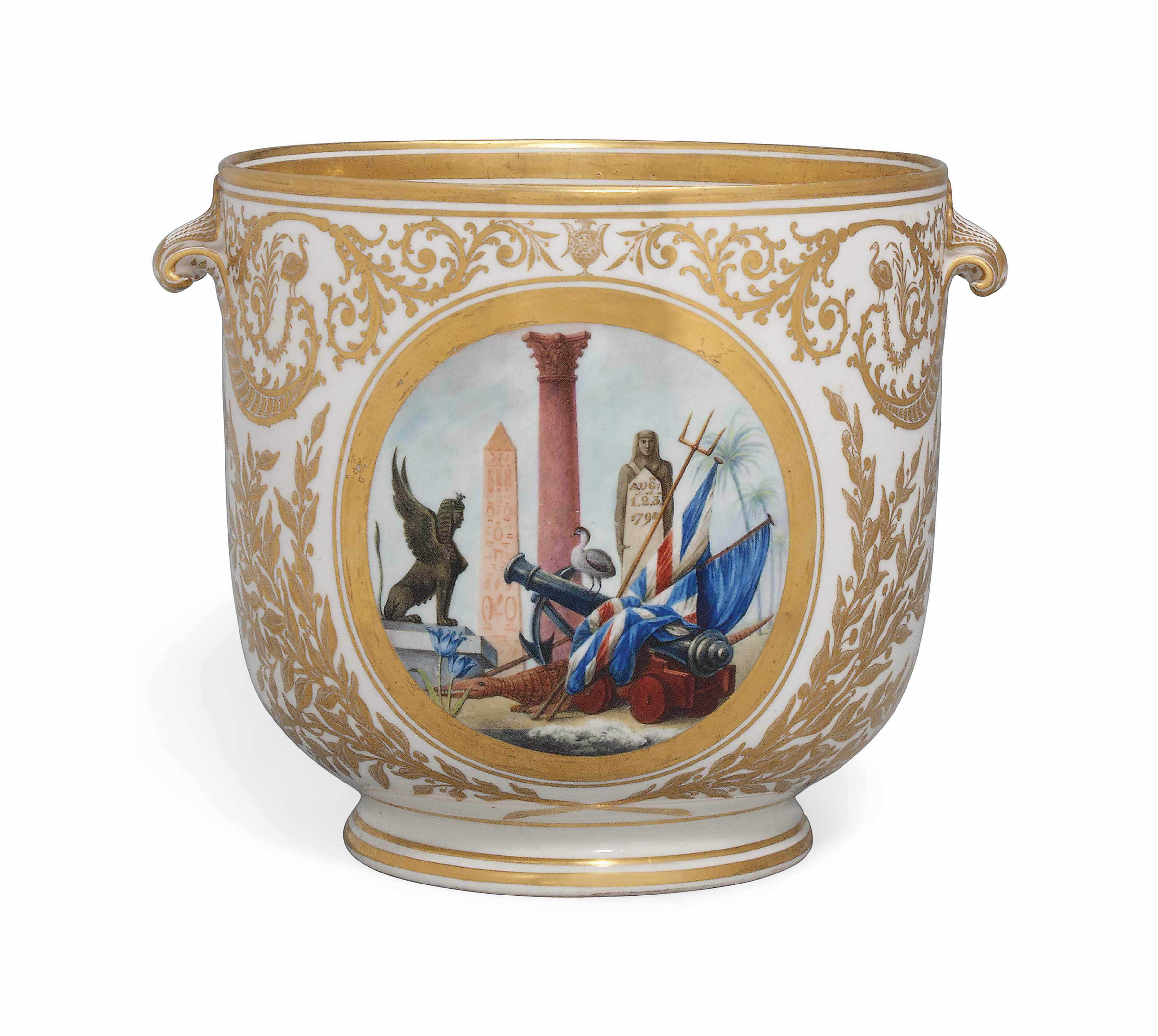 A DERBY BOTTLE-COOLER COMMEMORATING ADMIRAL LORD NELSON'S VICTORY AT THE BATTLE OF THE NILE