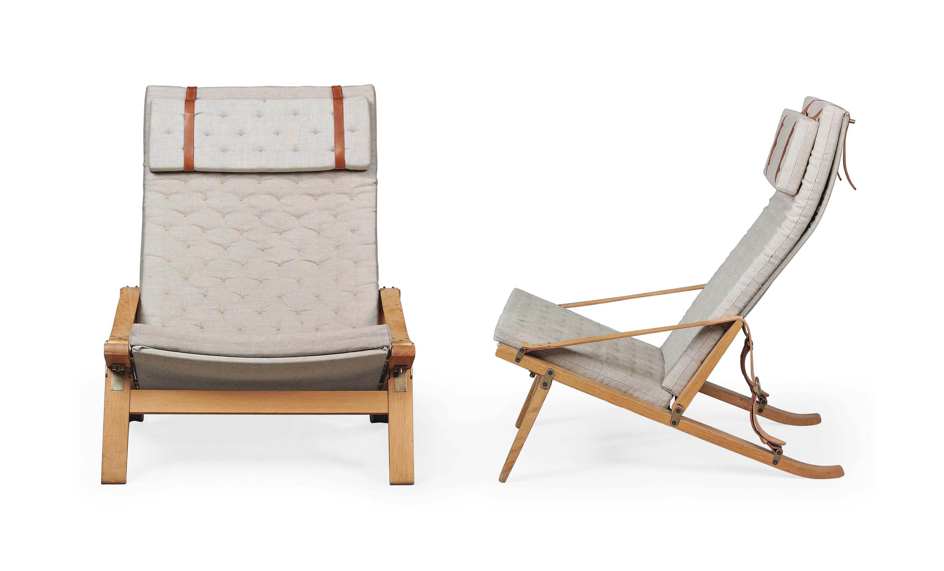A PAIR OF PREBEN FABRICIUS (1931-1984) & JØRGEN KASTHOLM (1931-2007) P.B.10 HIGH-BACKED FOLDING LOUNGE CHAIRS
