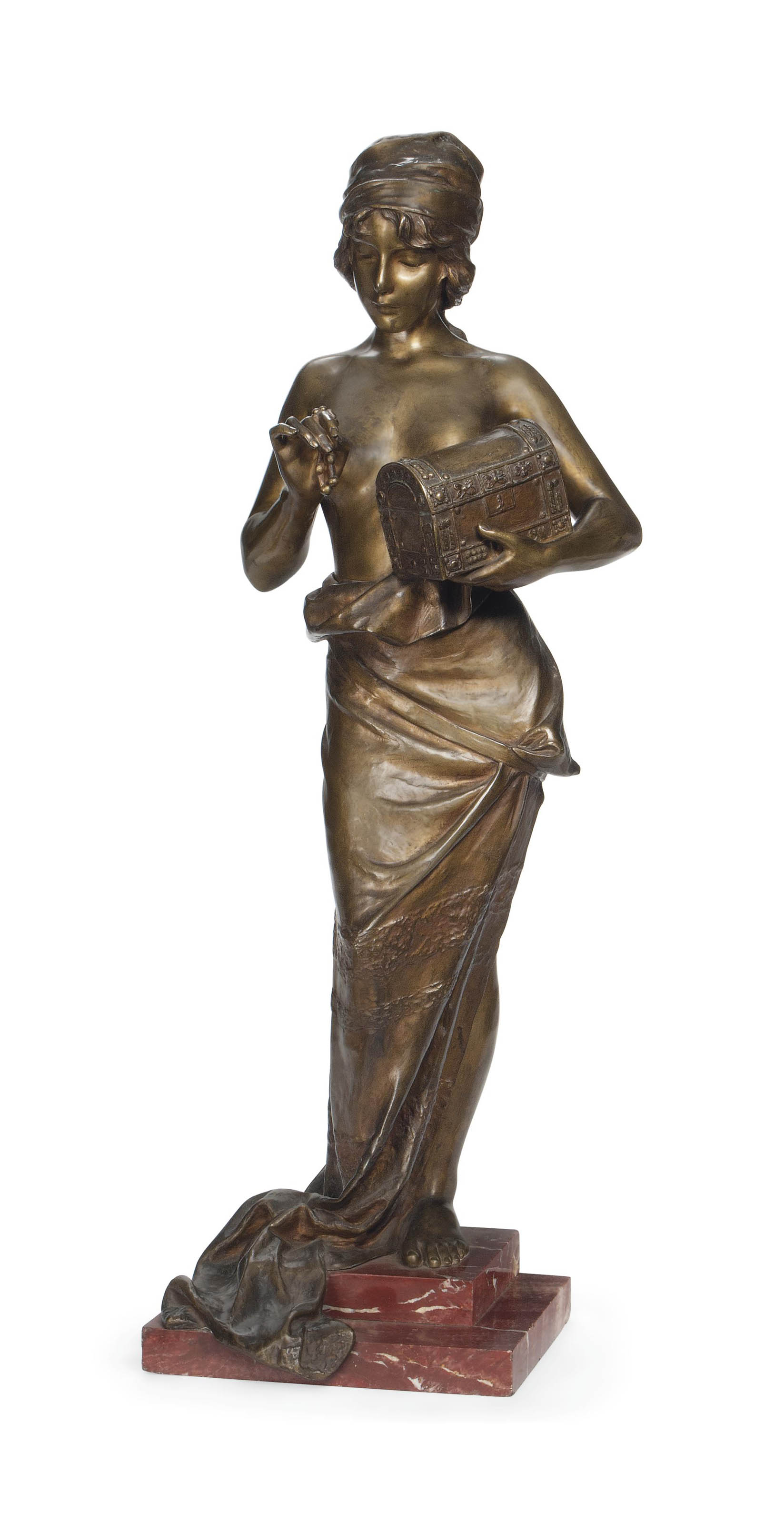 A FRENCH BRONZE FIGURE OF PANDORA