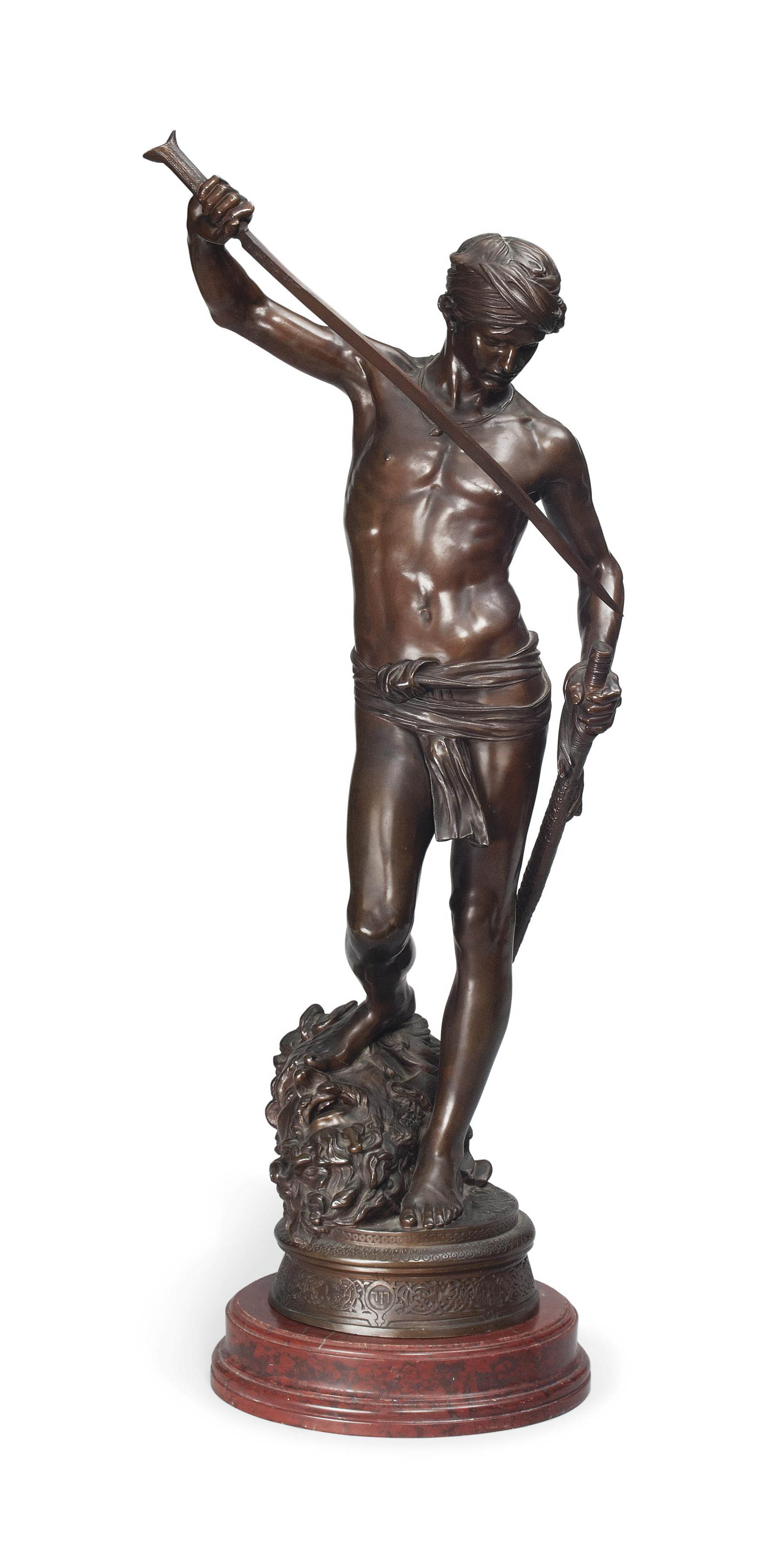 A FRENCH BRONZE FIGURE OF 'DAVID VAINQUER'