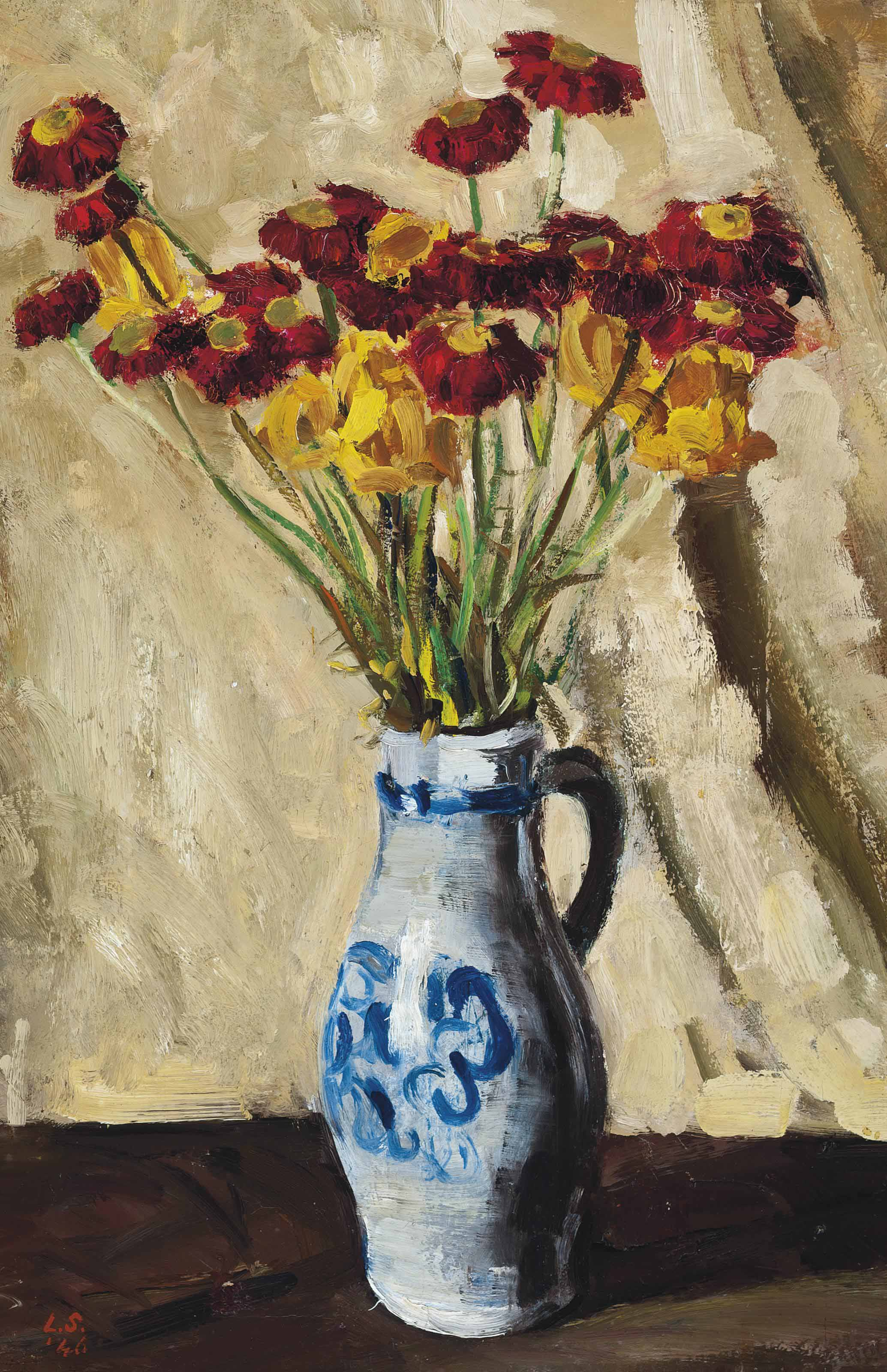 Vase of autumnal flowers