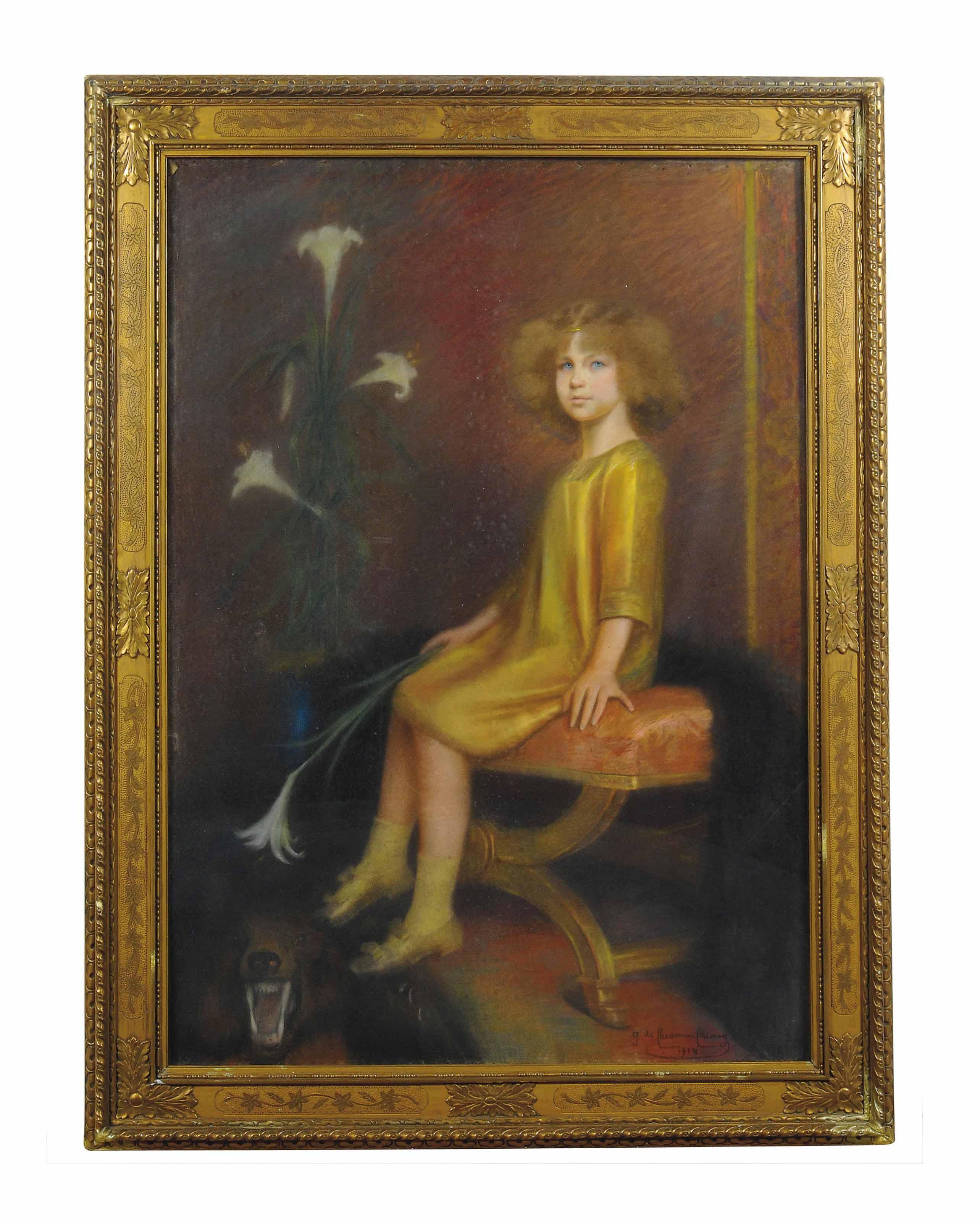 Portrait of Portrait of Marie José of Belgium (1906-2001), seated full-length