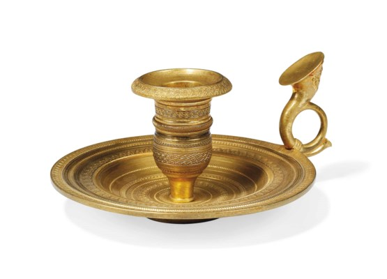 A french gilt bronze chamber candlestick late 19th early for French chamber