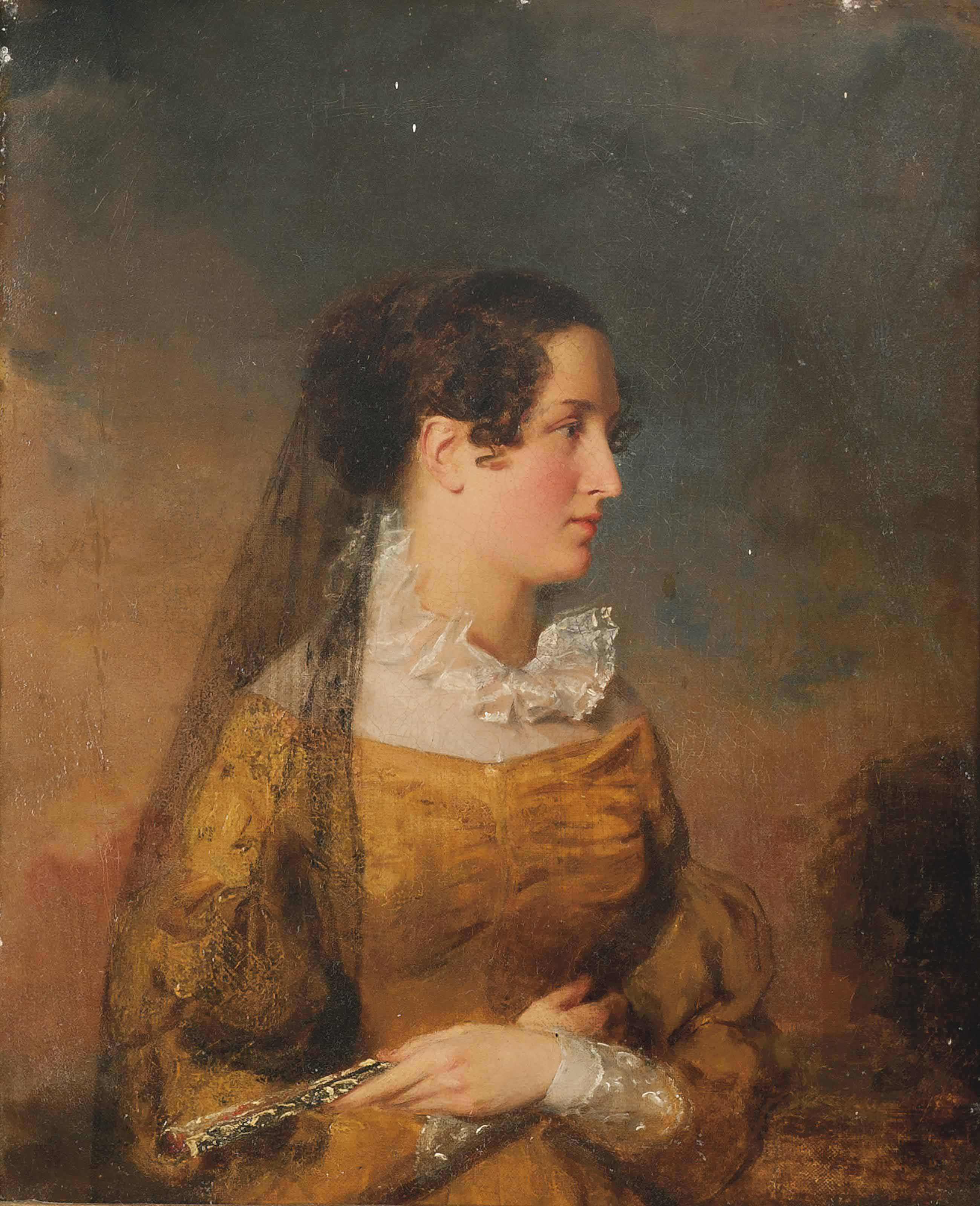 Portrait of a lady with a mantilla and a fan