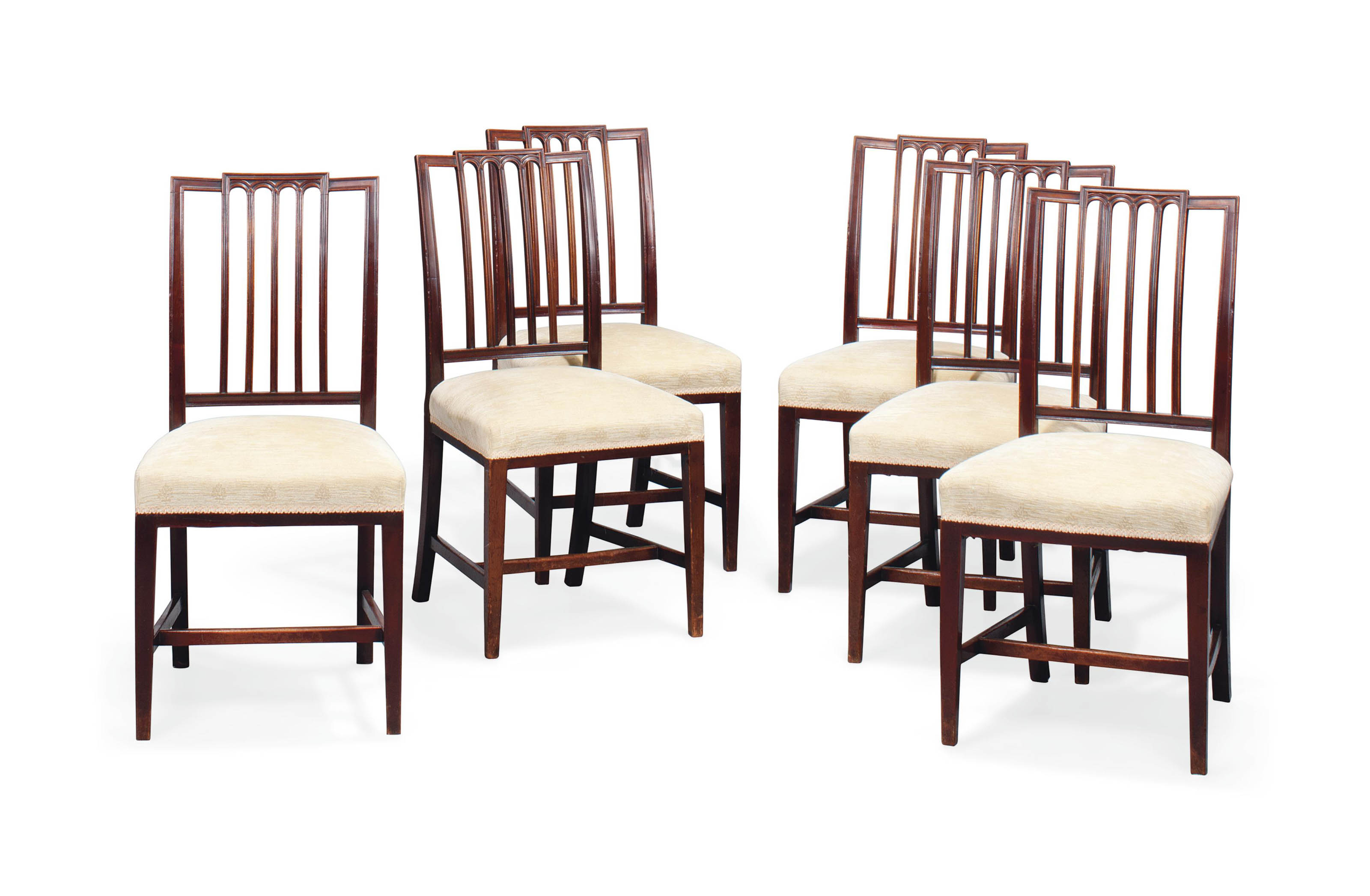 A SET OF SIX LATE VICTORIAN MAHOGANY DINING CHAIRS
