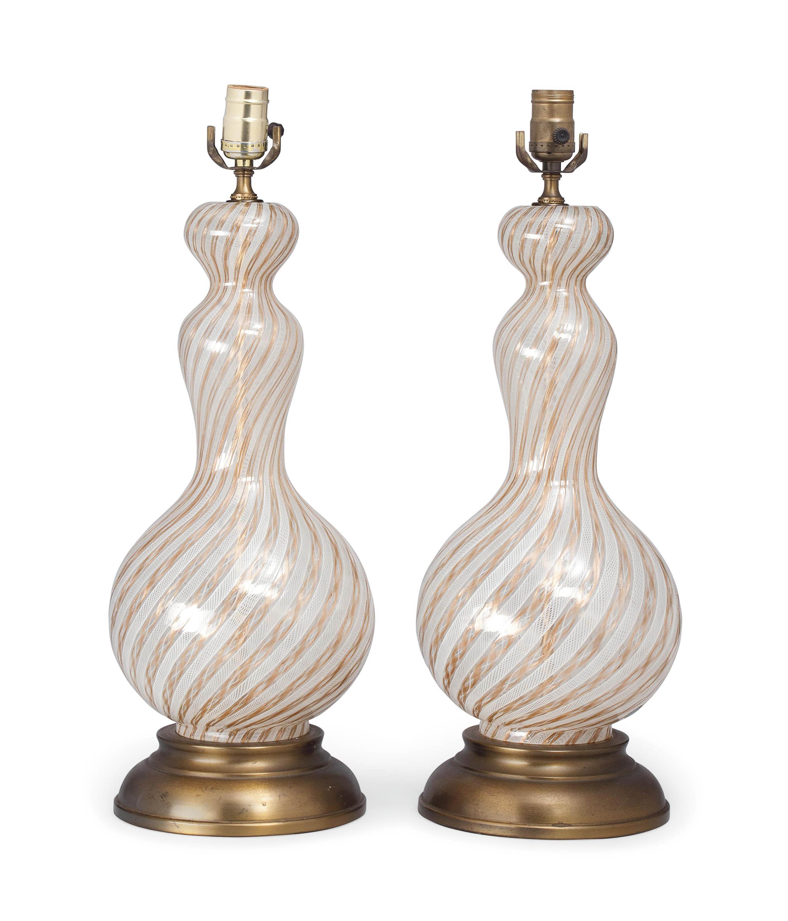 a pair of venetian murano glas