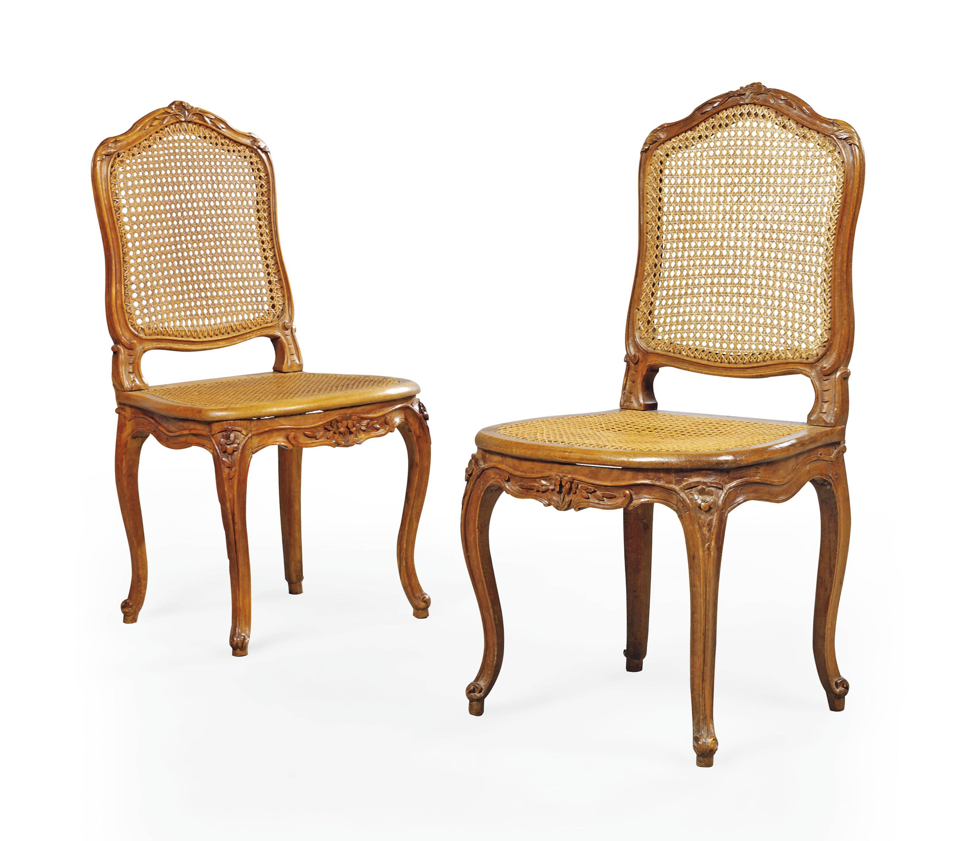 A PAIR OF LOUIS XV BEECH SIDE CHAIRS A LA REINE